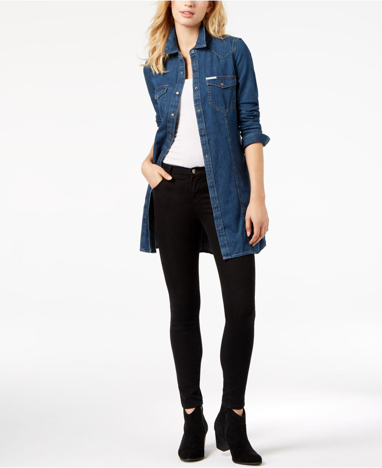 b7c76381e00 Lyst - Calvin Klein Retro Luxe Cotton Denim Shirtdress in Blue