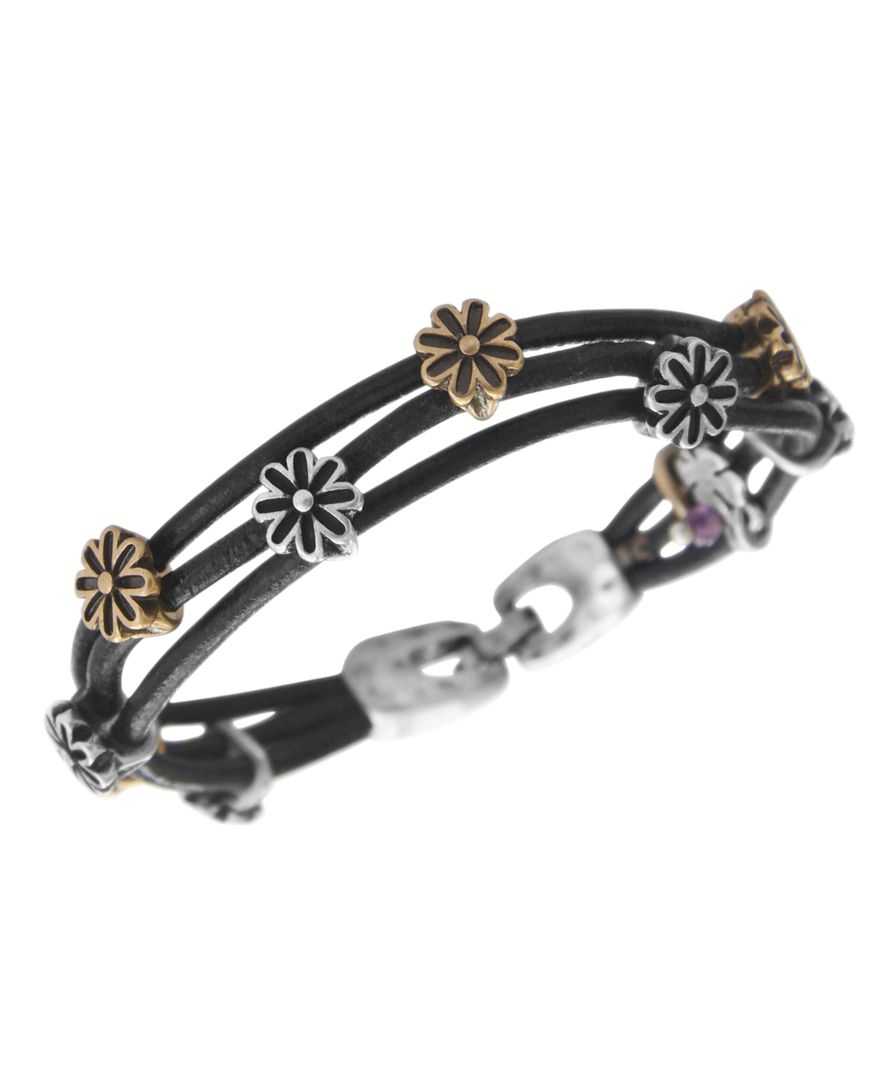 Lucky brand bracelet two tone flower woven leather for Macy s lucky brand jewelry
