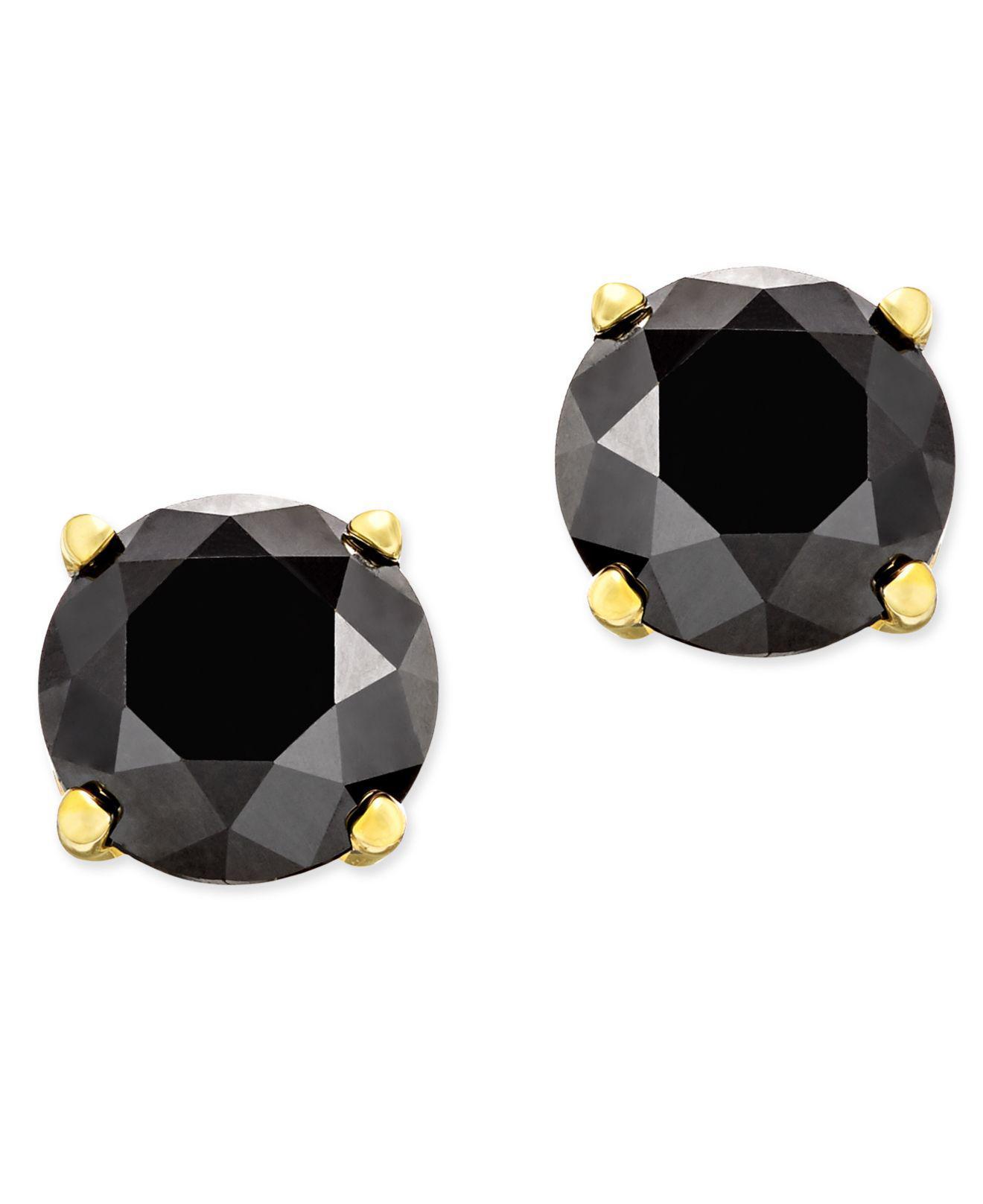 Black Diamond Stud Earrings In 14k White Gold 1 2 Ct T W