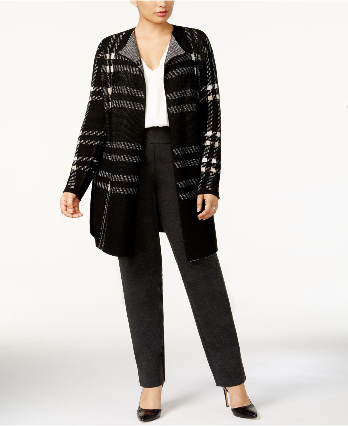 Charter club Plus Size Plaid Open-front Duster Cardigan in Black ...