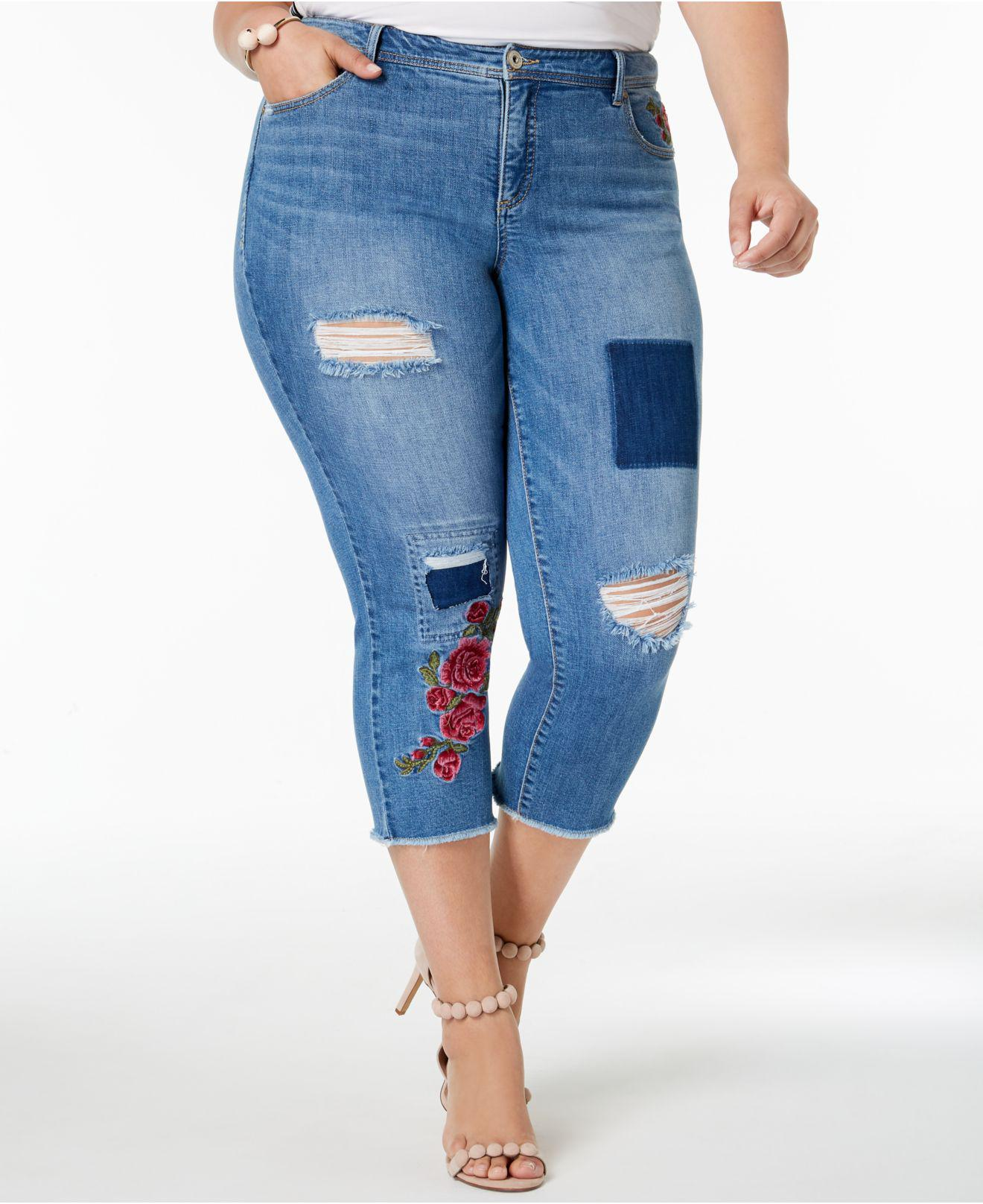 5aaa1a78fcf9f INC International Concepts. Women s Blue I.n.c. Plus Size Patched Cropped  Jeans