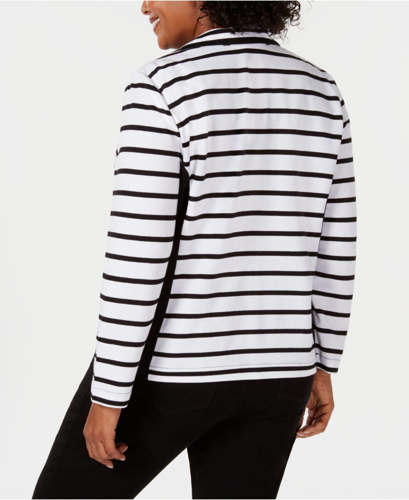 1e063e2800f Lyst - Karen Scott Plus Size Casual Striped Zip-front Jacket ...