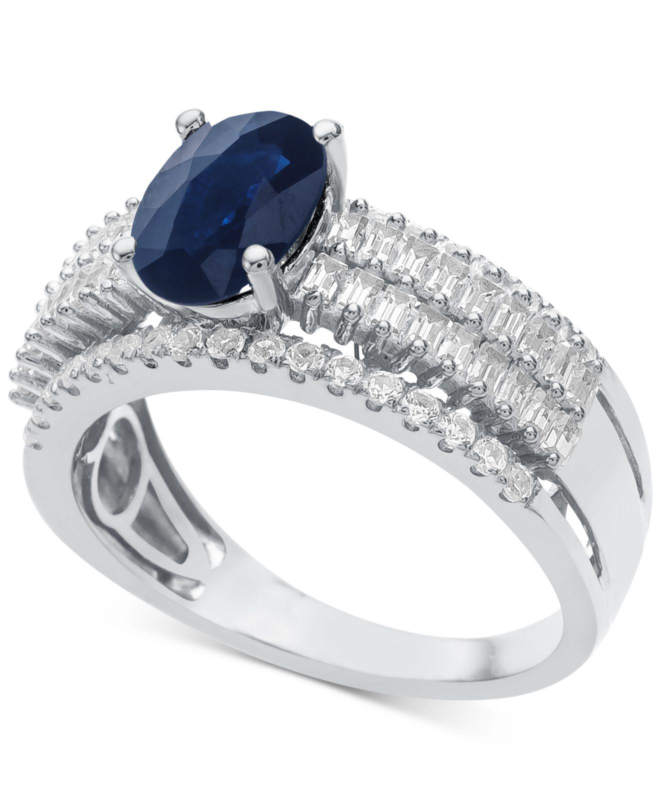 66562645a Lyst - Macy's Sapphire (1-1/3 Ct. T.w.) & Diamond (5/8 Ct. T.w. ...
