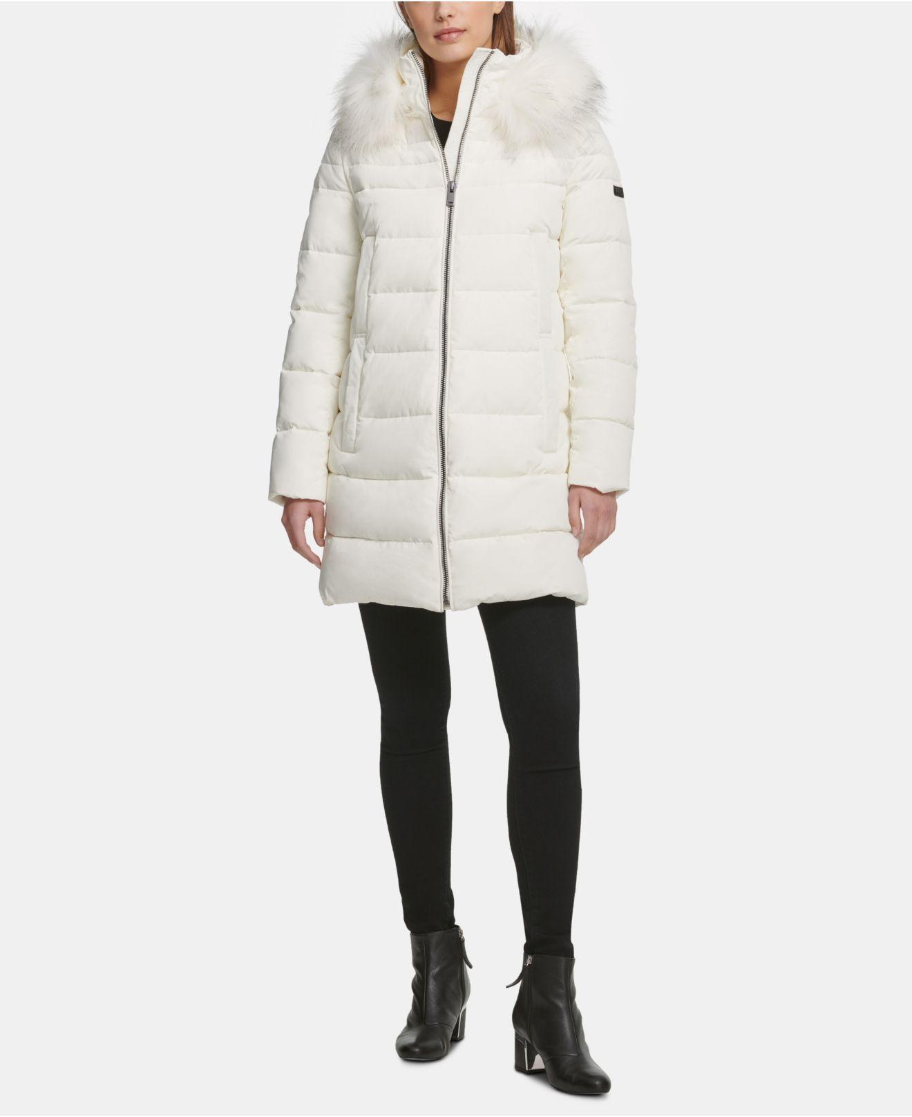 DKNY Hooded Faux-fur-trim Puffer Coat in Ivory (White) - Lyst
