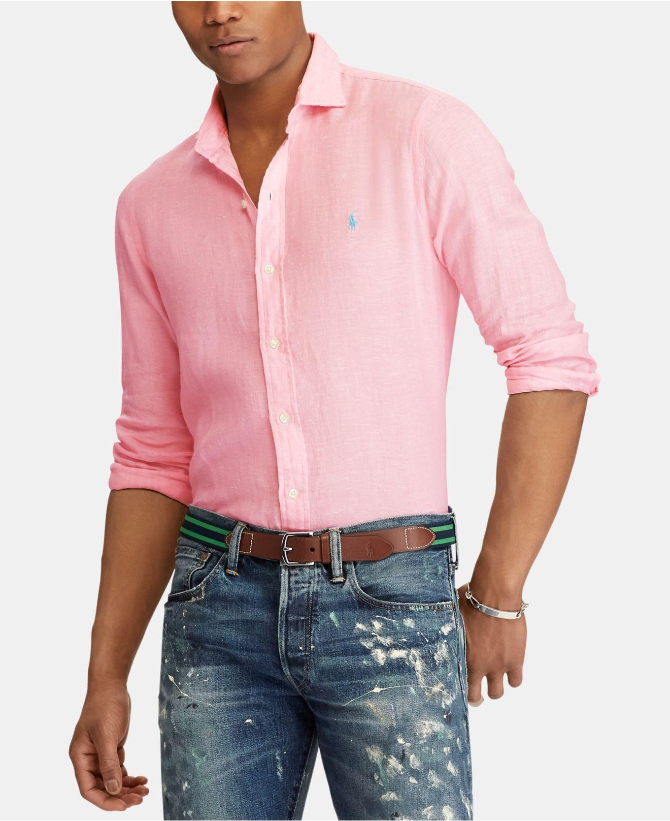 e7f0e4fb0 Lyst - Polo Ralph Lauren Slim Fit Linen Shirt in Pink for Men - Save 60%