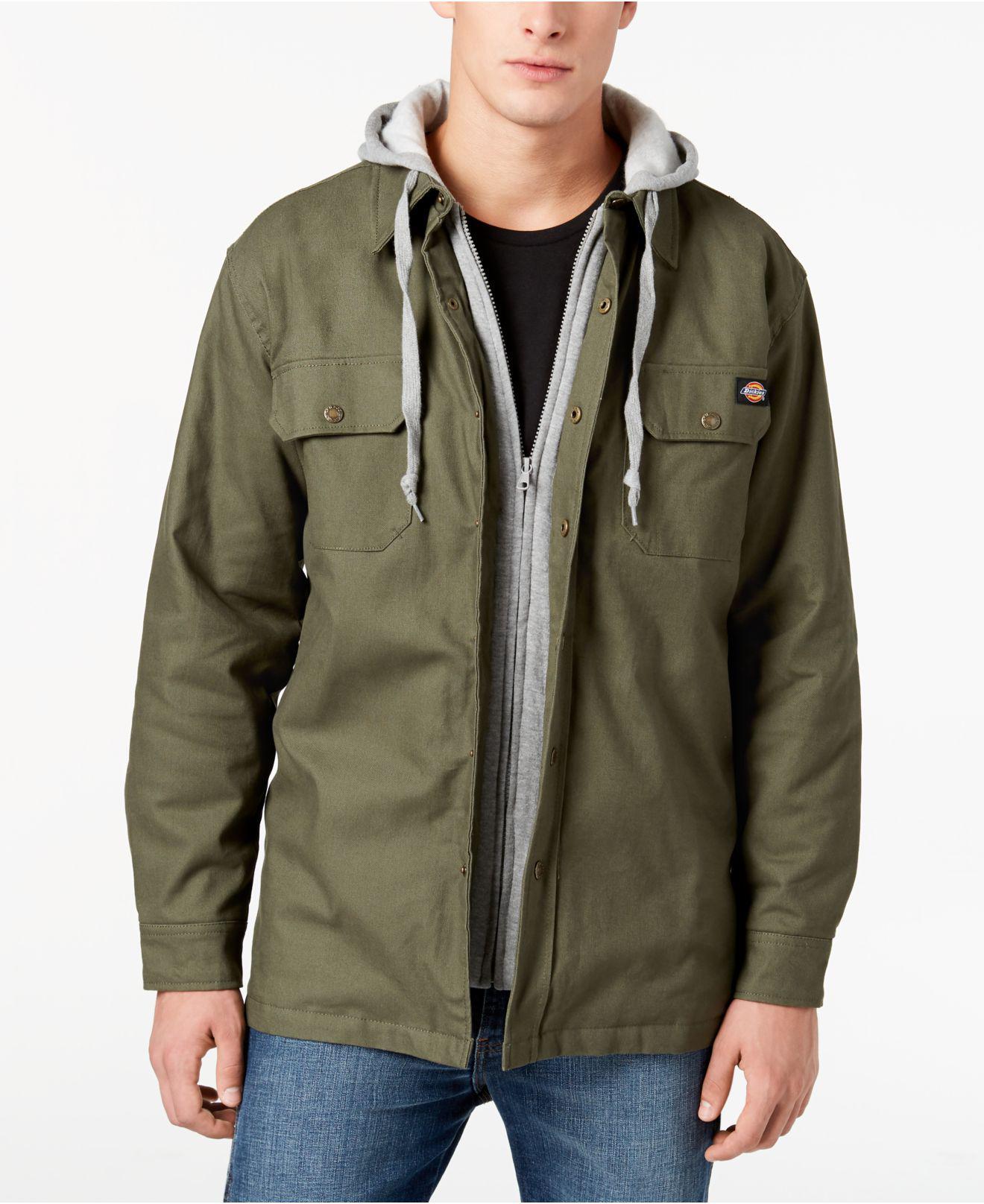 Dickies Fleece Men's Quilted Shirt Jacket in Light Sage ...