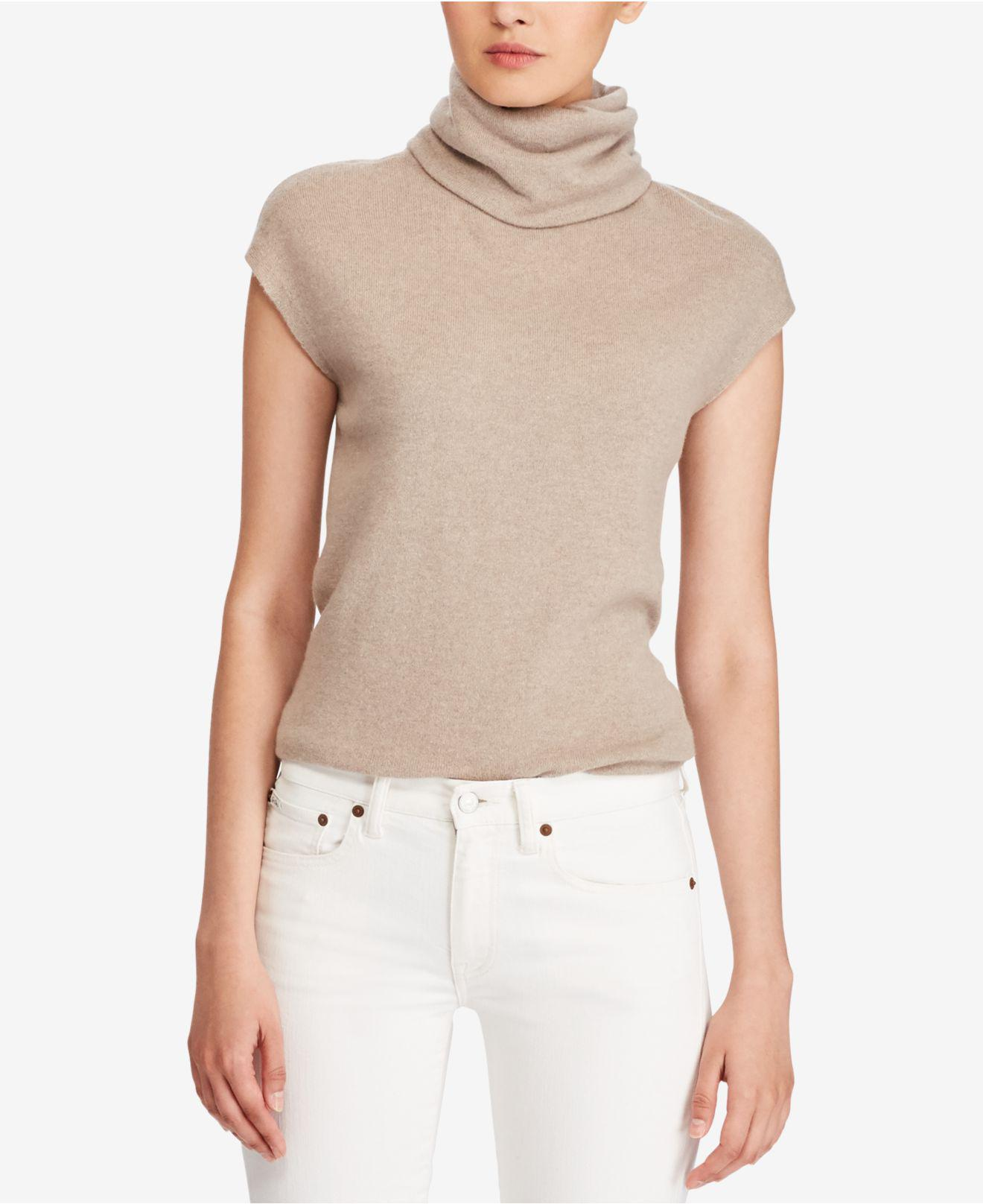f7058a58d23e6 Lyst - Polo Ralph Lauren Cashmere Cap-sleeve Turtleneck Sweater in Brown