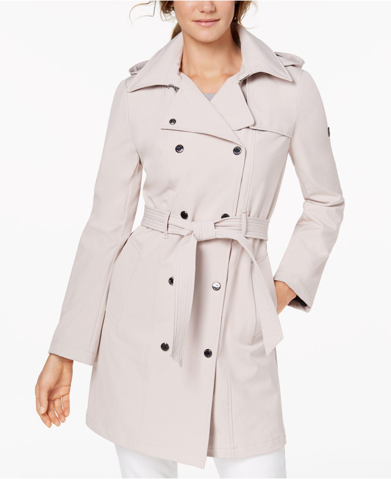 945d4a9a93d Lyst - Calvin Klein Hooded Double-breasted Trench Coat in Natural ...