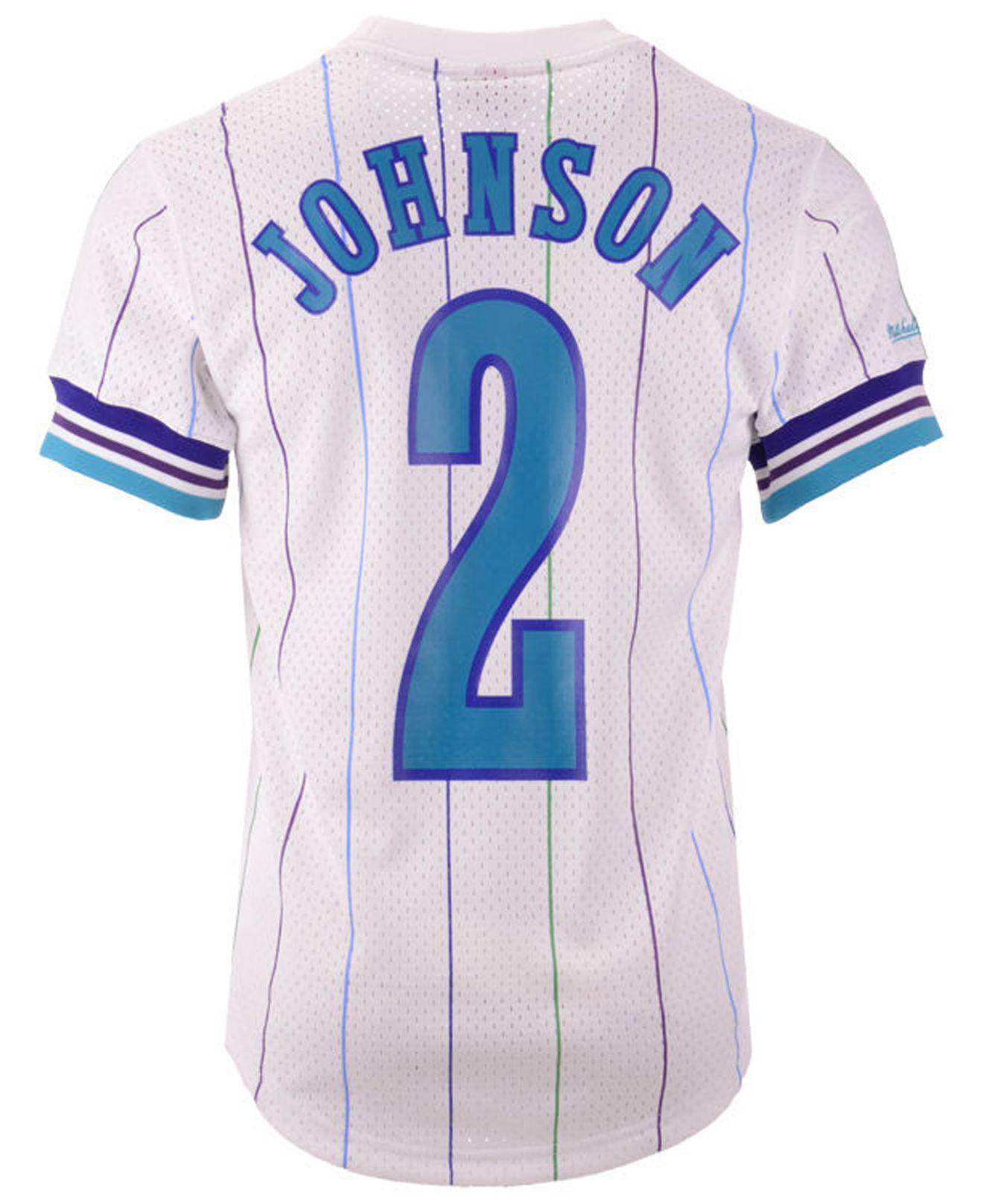 official photos 106ac c6dbd Men's White Larry Johnson Charlotte Hornets Name And Number Mesh Crewneck  Jersey