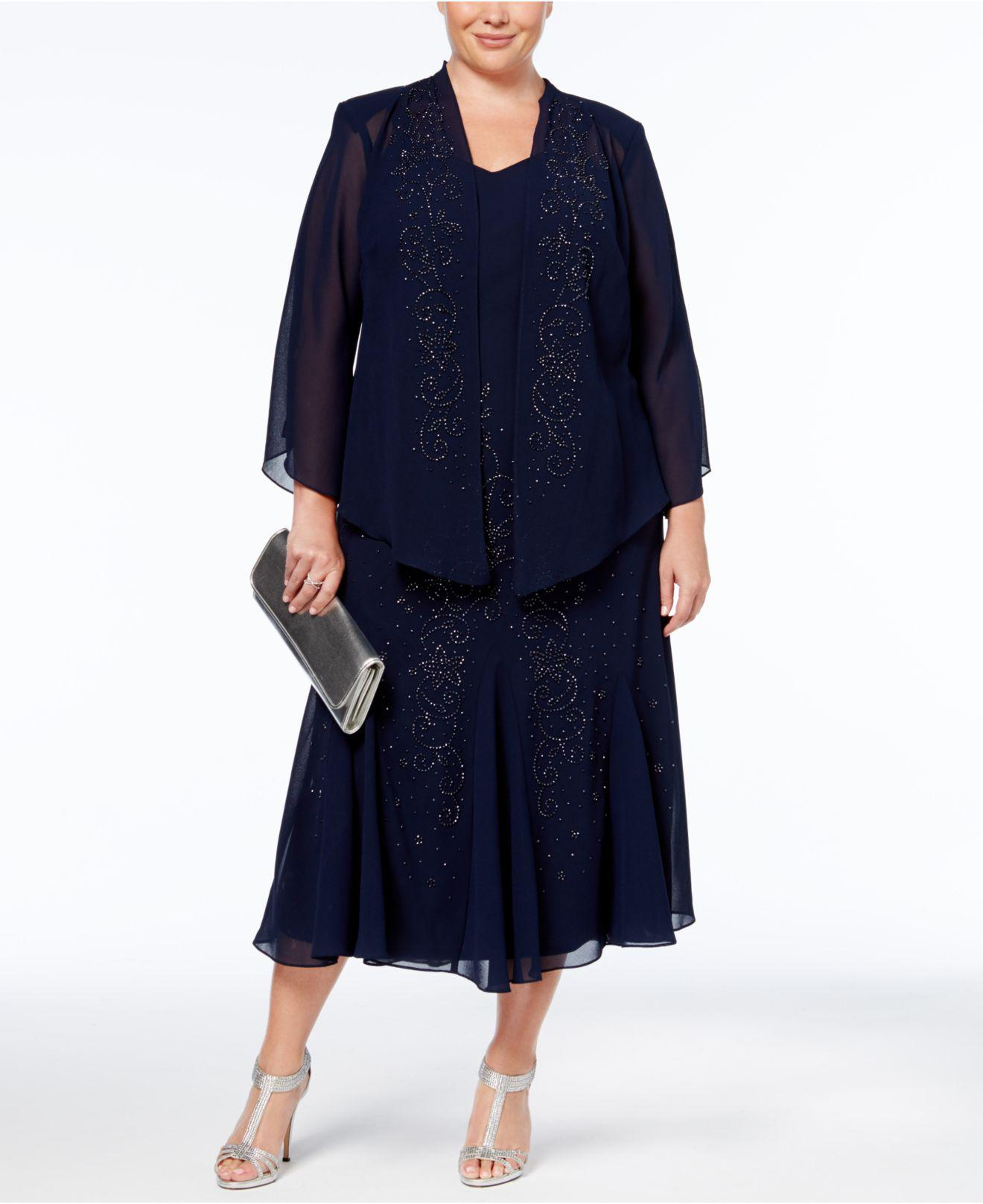 R & M Richards Plus Size Dress And Jacket, Bead Embellished in Blue ...