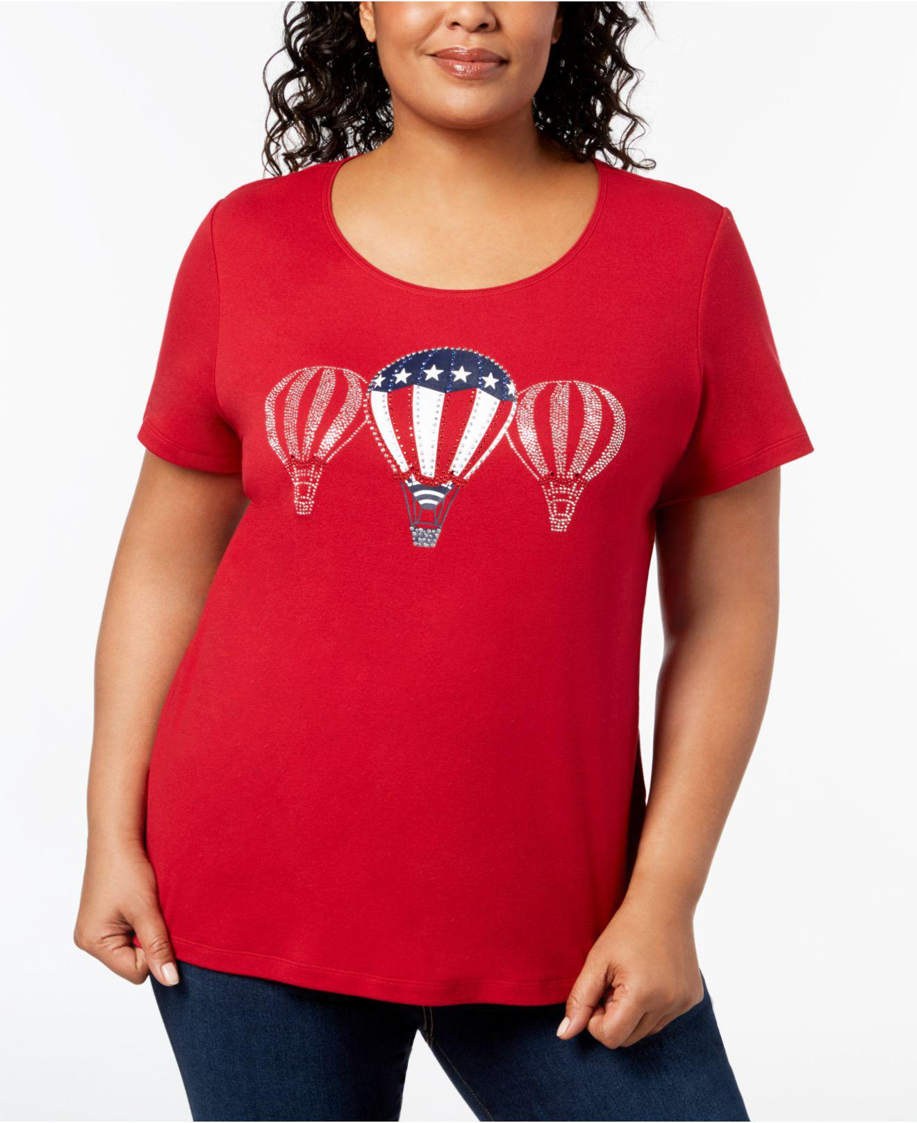 95f34181e2934 Karen Scott. Women s Red Plus Size Cotton Graphic T-shirt ...