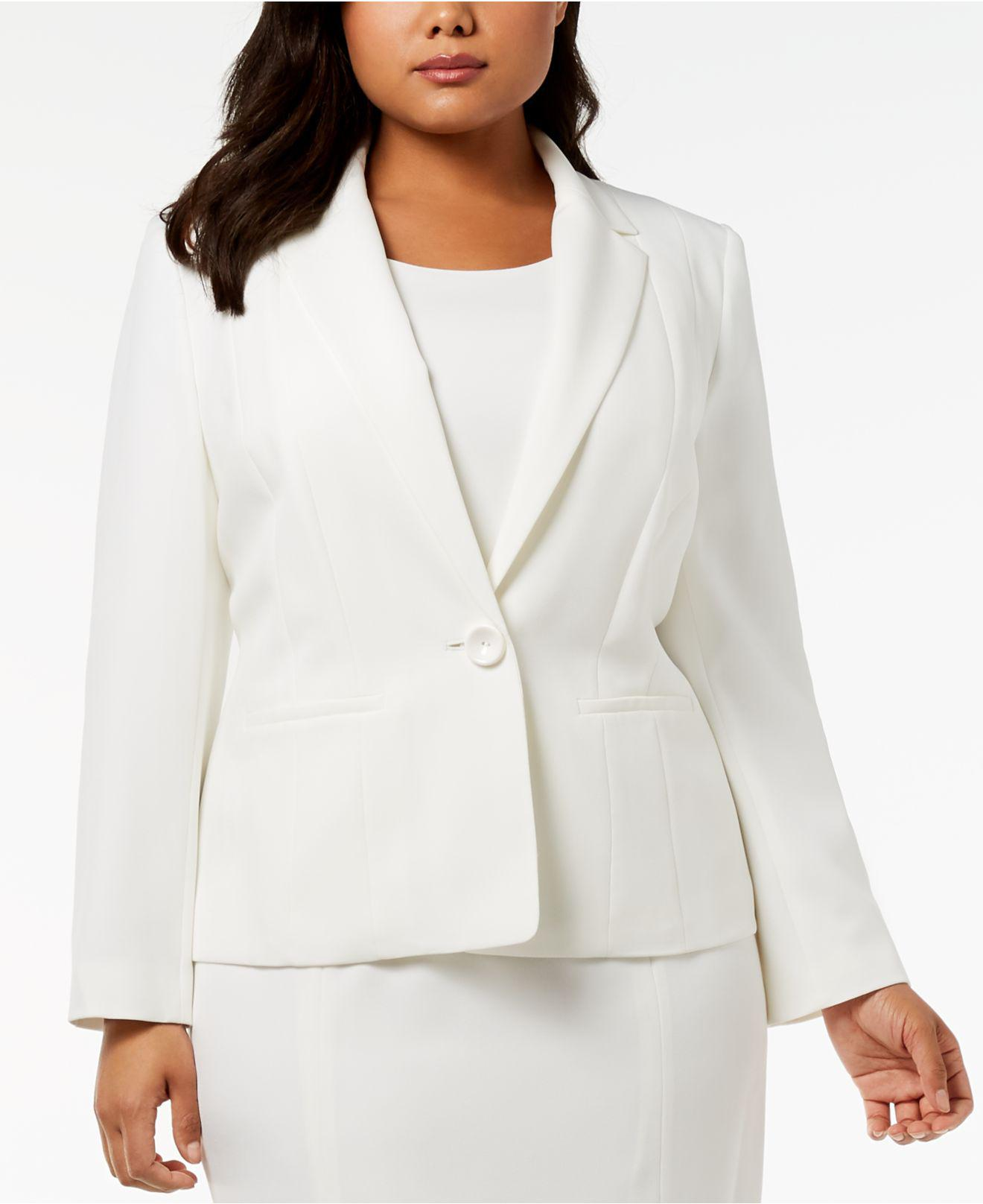 cc49c34d676 Lyst - Kasper Plus Size One-button Crepe Jacket in White