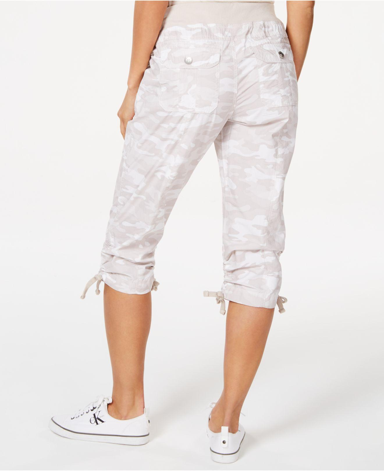 1a4a5ed6c Lyst - Calvin Klein Performance Printed Tie-hem Capri Pants in White