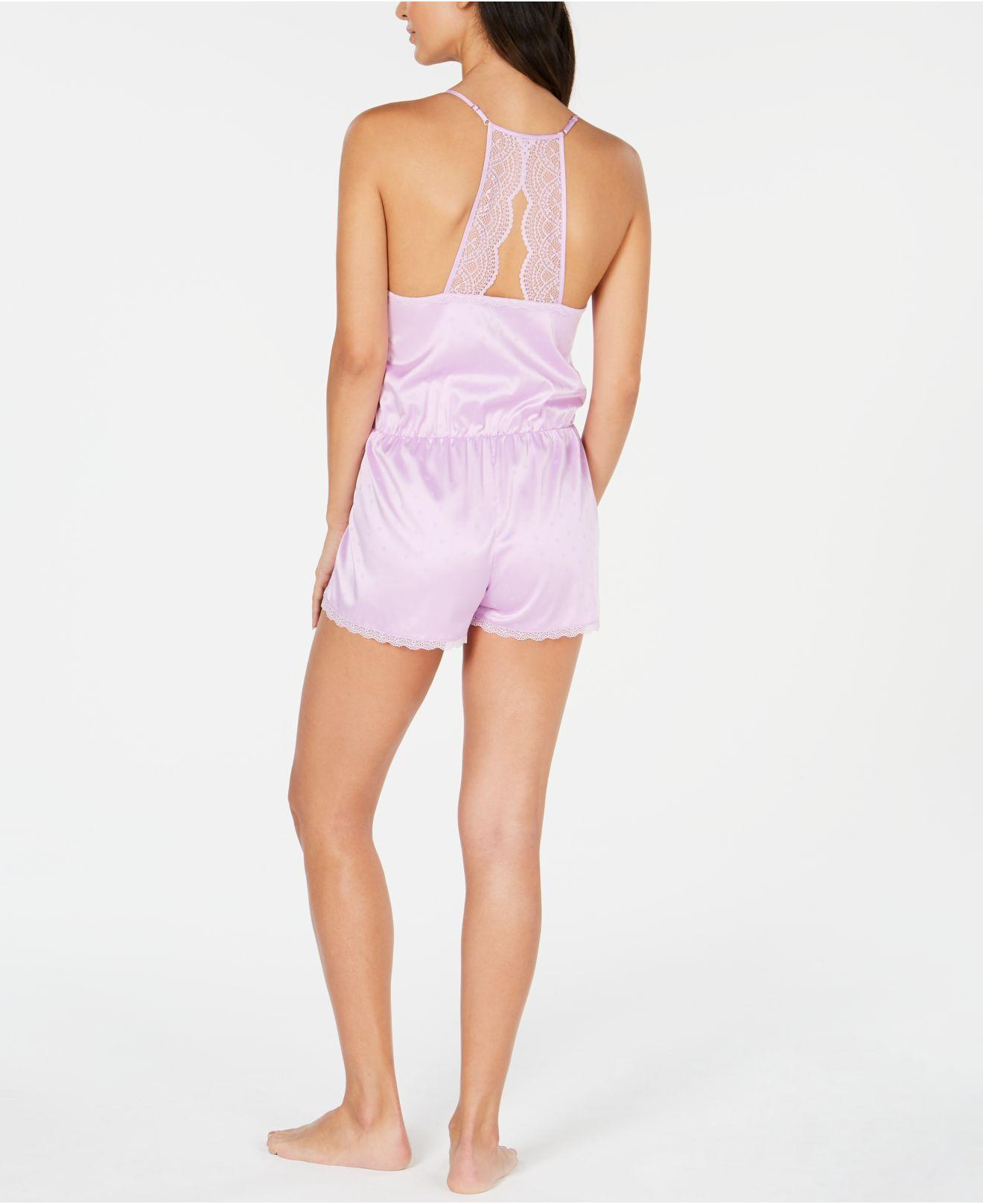 abe80326034d INC International Concepts I.n.c. Satin Lace-trimmed Jacquard Pajama  Romper, Created For Macy's in Purple - Lyst