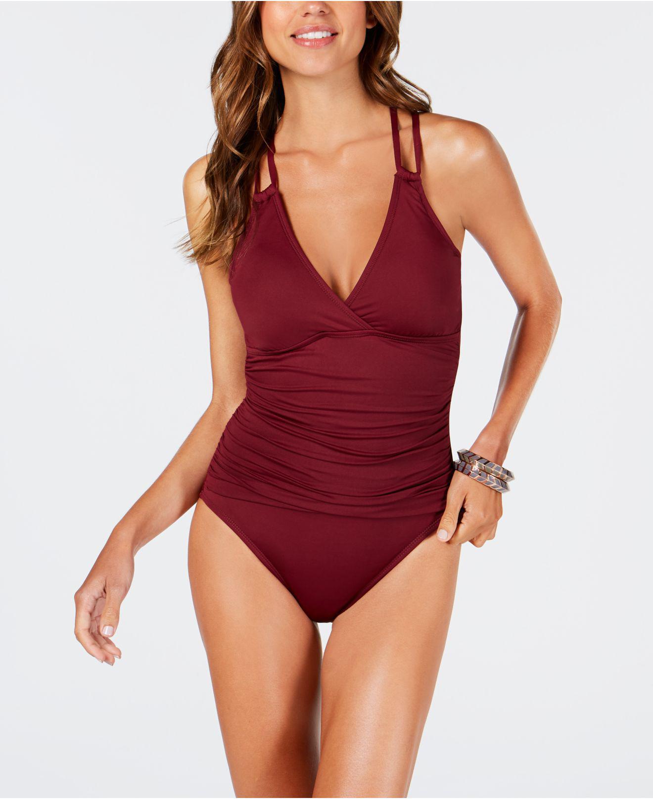c0889393379ec La Blanca. Women s Red Island Goddess Underwire Tummy Control Cross-back One -piece Swimsuit