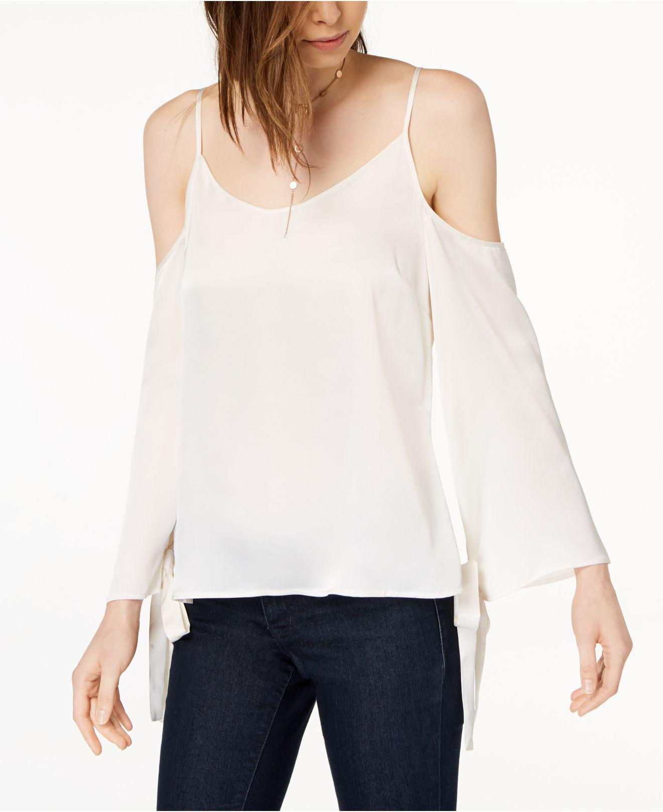 ac65db3e2d Lyst - Kensie Tie-sleeve Cold-shoulder Blouse in White