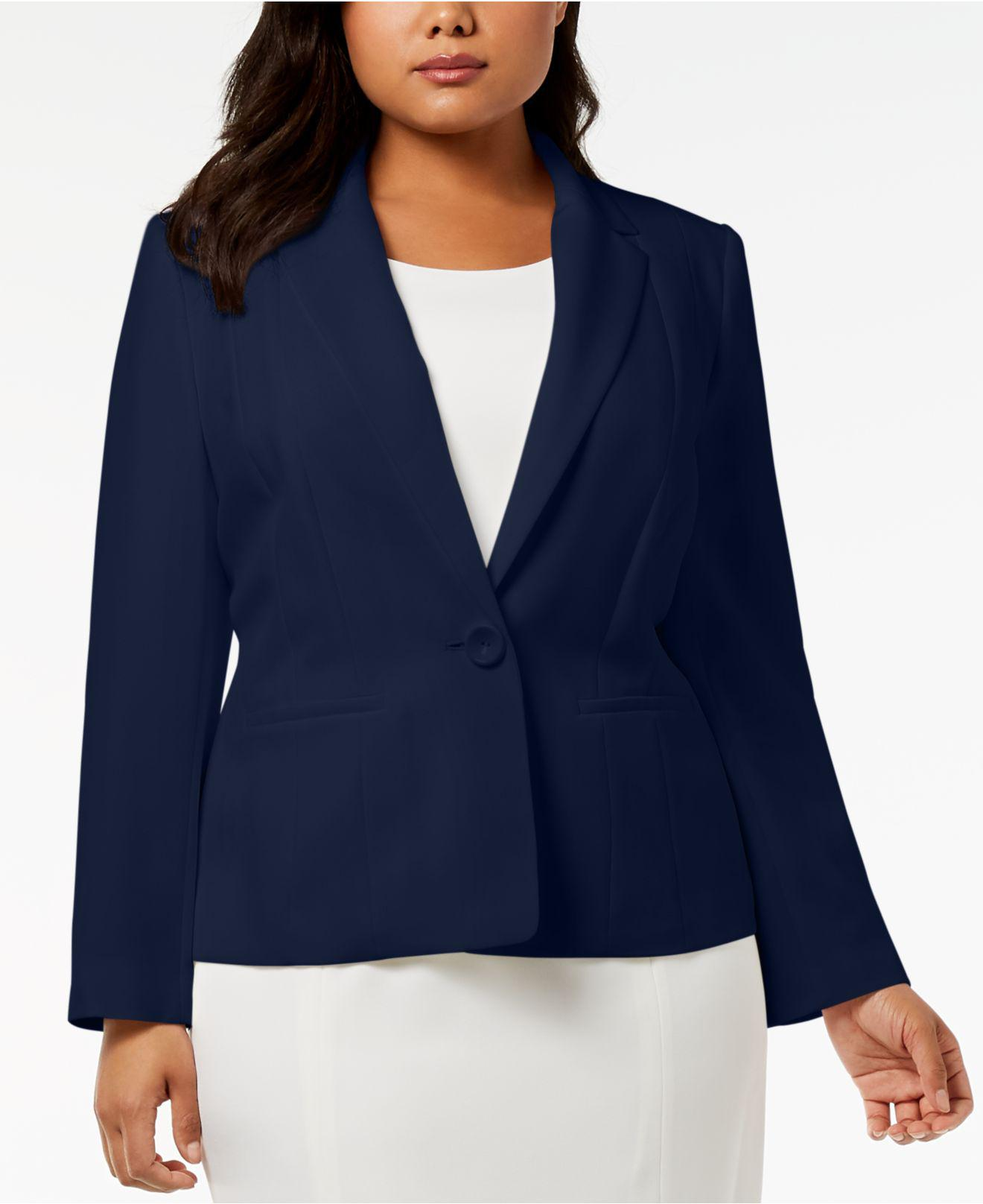1c1d631b0d3 Lyst - Kasper Plus Size One-button Crepe Jacket in Blue