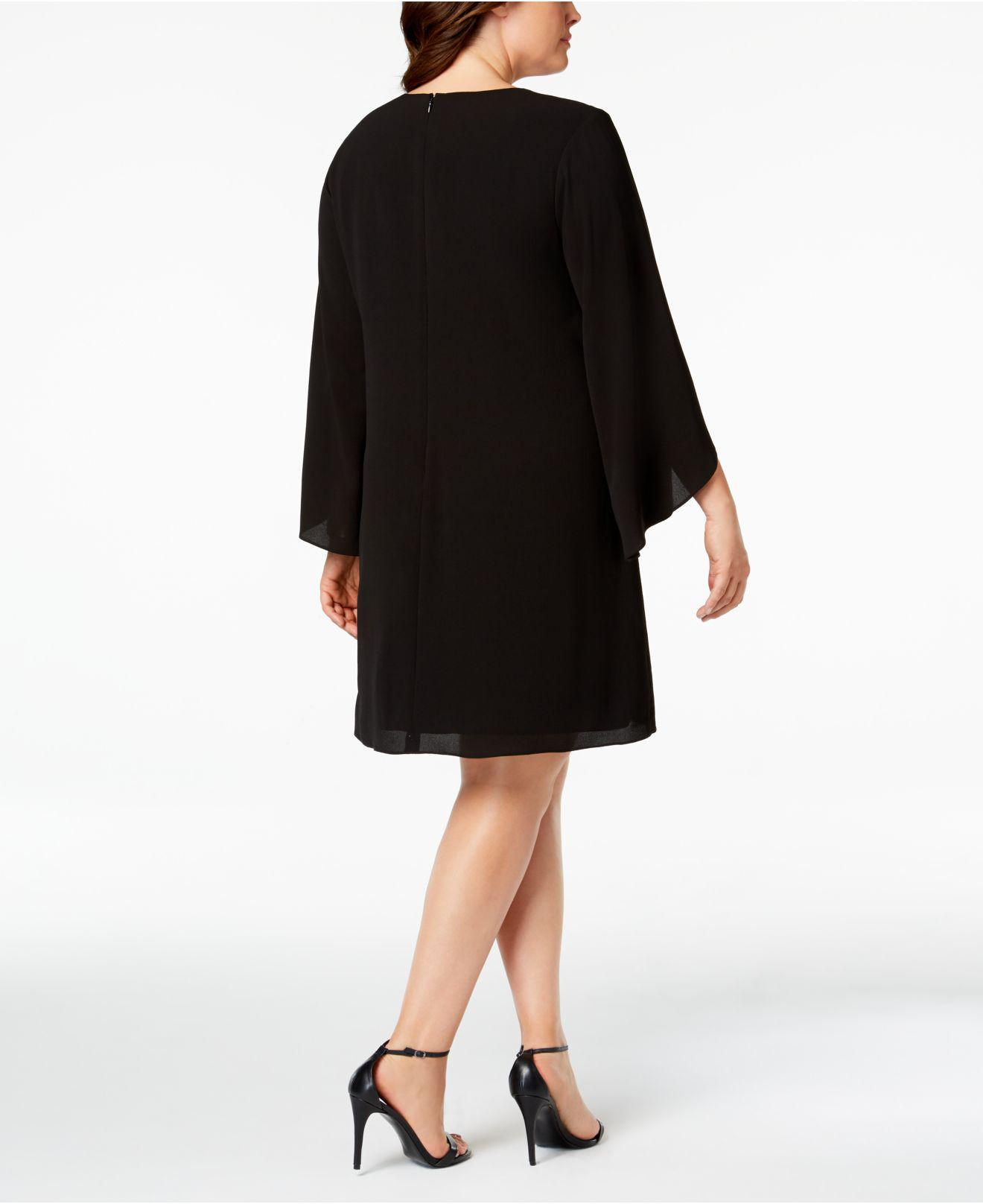 Kensie Synthetic Plus Size Keyhole Shift Dress In Black Lyst