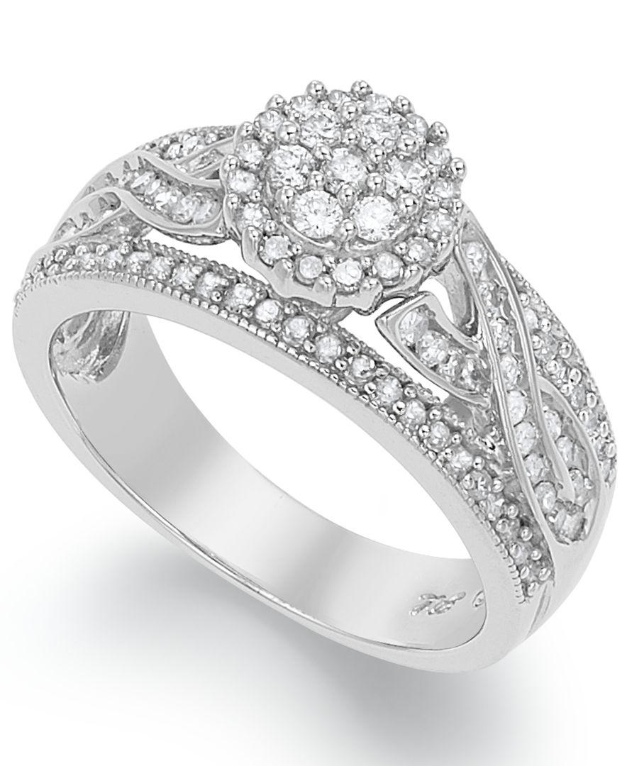 macy s engagement ring in sterling silver 3 4 ct