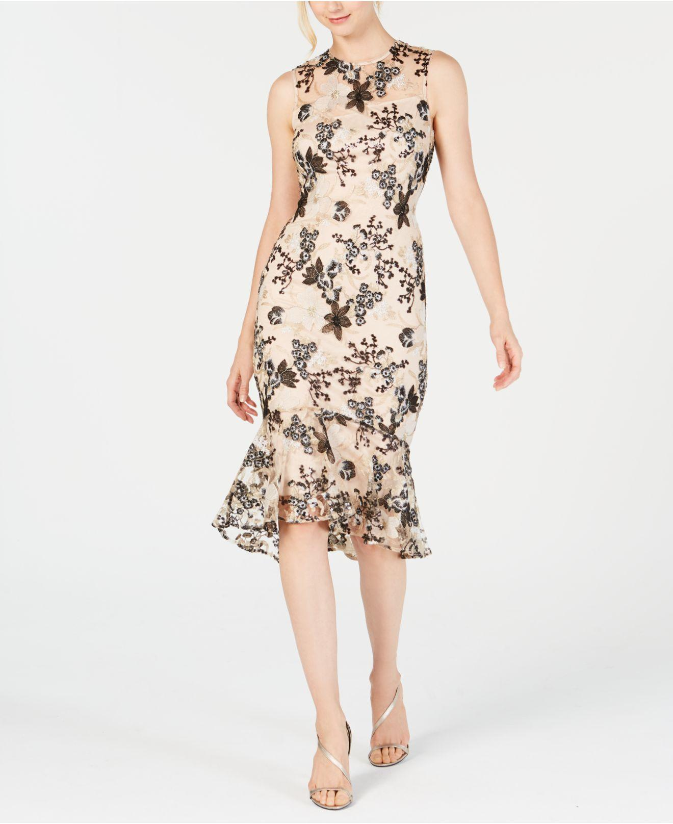 55ac5466 Calvin Klein Floral Embroidered Trumpet Midi Dress in Natural - Lyst