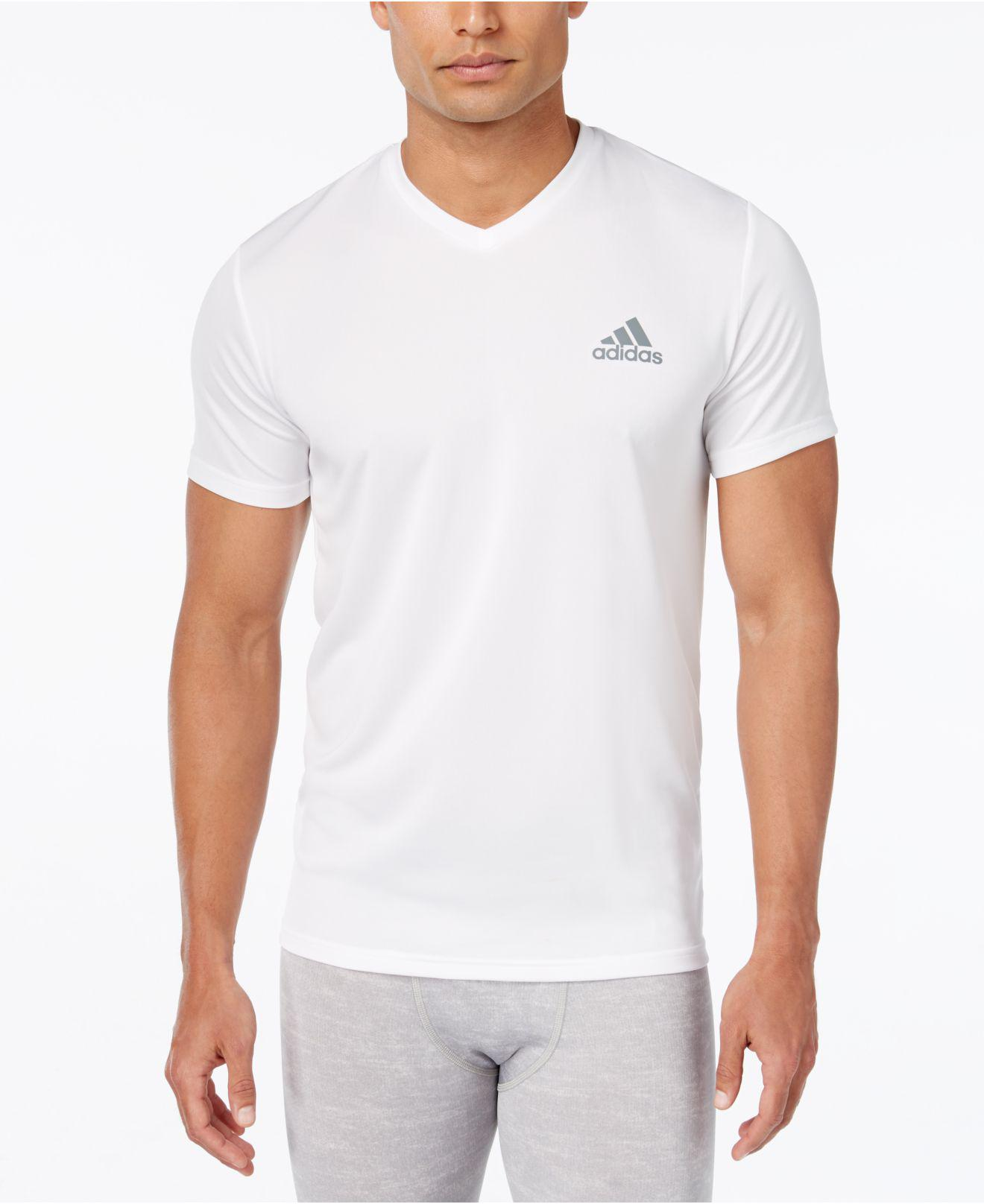 adidas Synthetic Men's V-neck Climalite T-shirt in White for Men ...