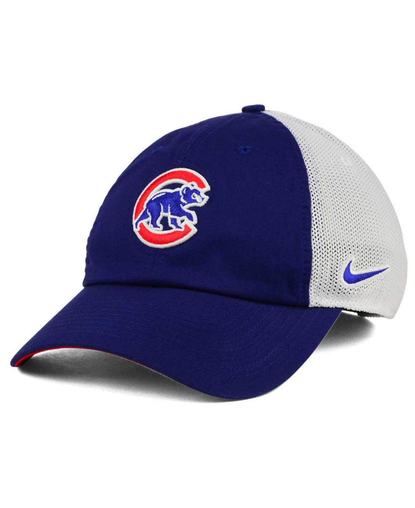 48a62523097 ... mens running cap white 68f38 ae9f9  get lyst nike chicago cubs dri fit  mesh swoosh adjustable cap in blue ae17d 779dc
