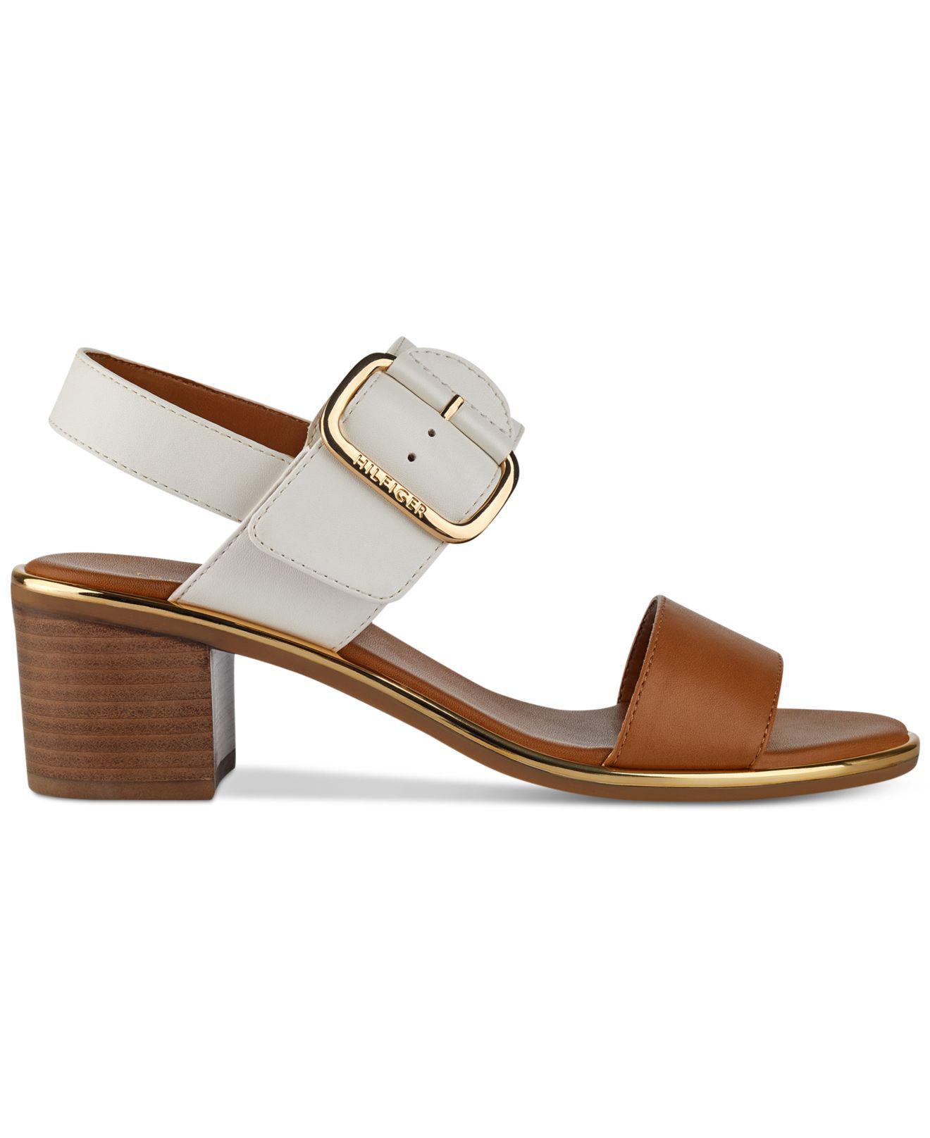 6b8f769fc26 Lyst - Tommy Hilfiger Katz Block-heel Dress Sandals in Brown