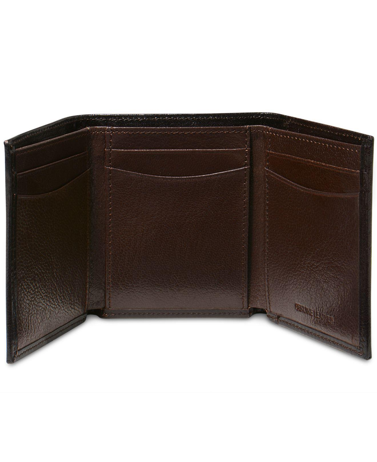 Perry Ellis Great Genuine Leather Trifold,Black