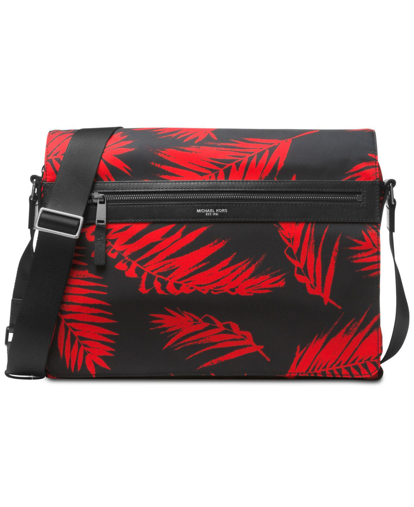 6e0b7a1444e30 Michael Kors - Red Kent Printed Messenger Bag for Men - Lyst. View  Fullscreen