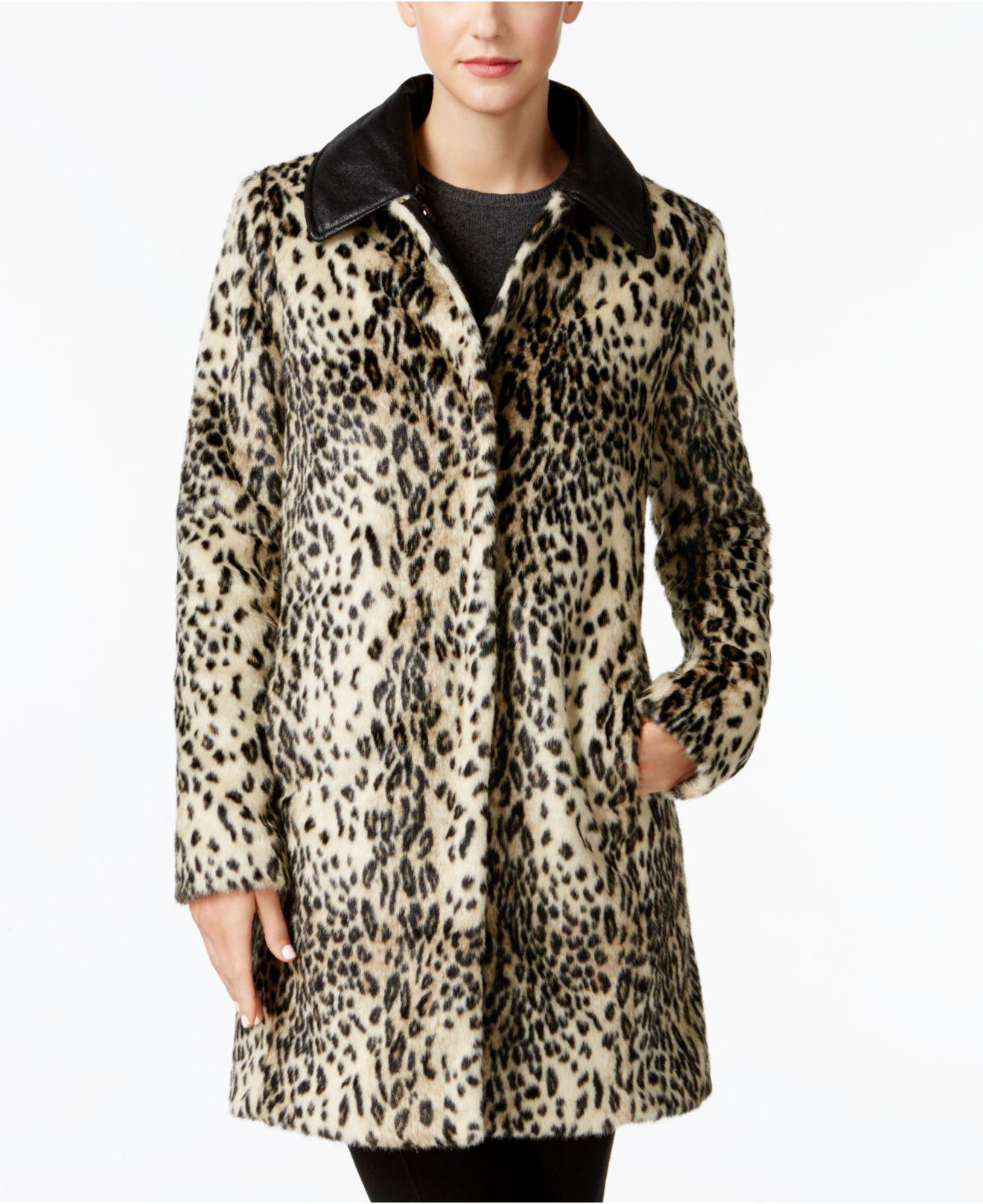 Vince Camuto Faux Fur Leopard Print Coat In Brown Lyst