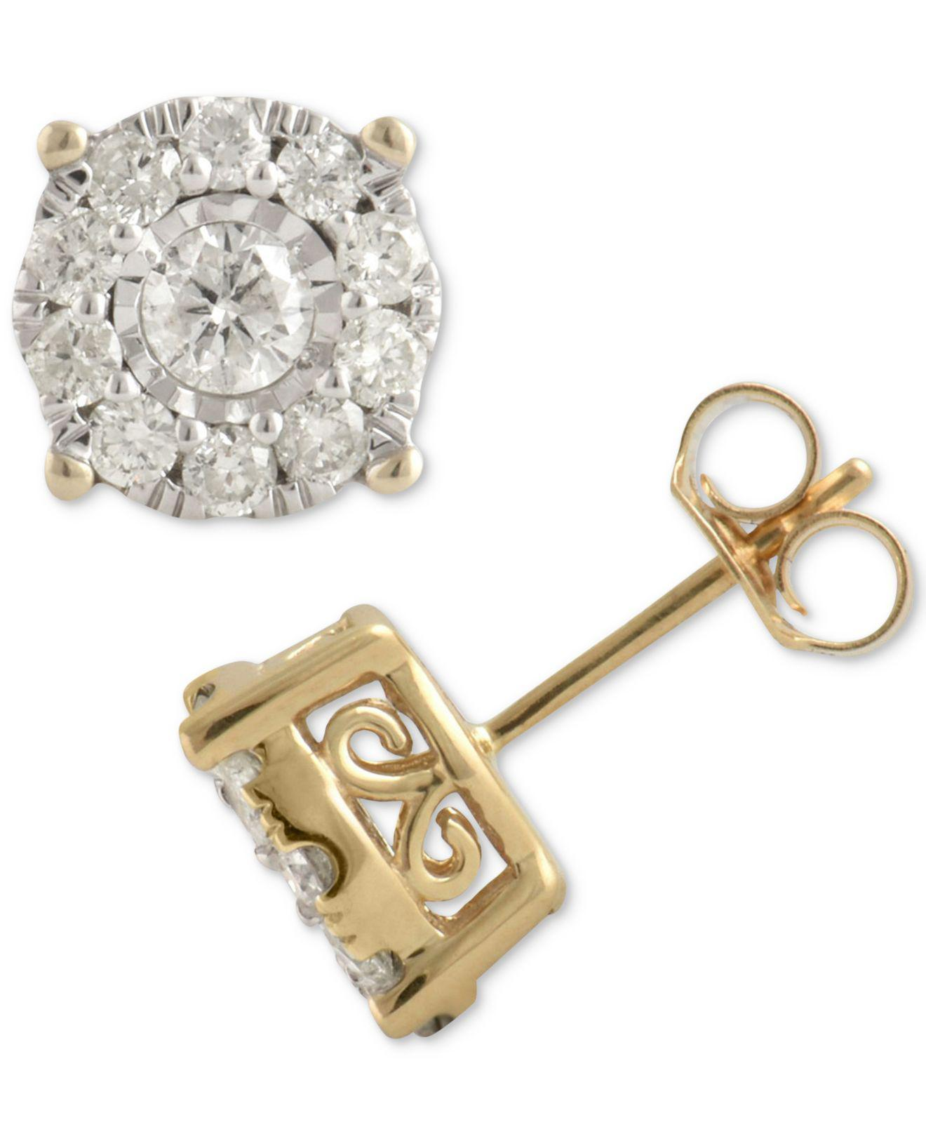 86be149695c Women's Metallic Diamond Halo Stud Earrings (1 Ct. T.w.) In 14k Gold, White  Gold Or Rose Gold