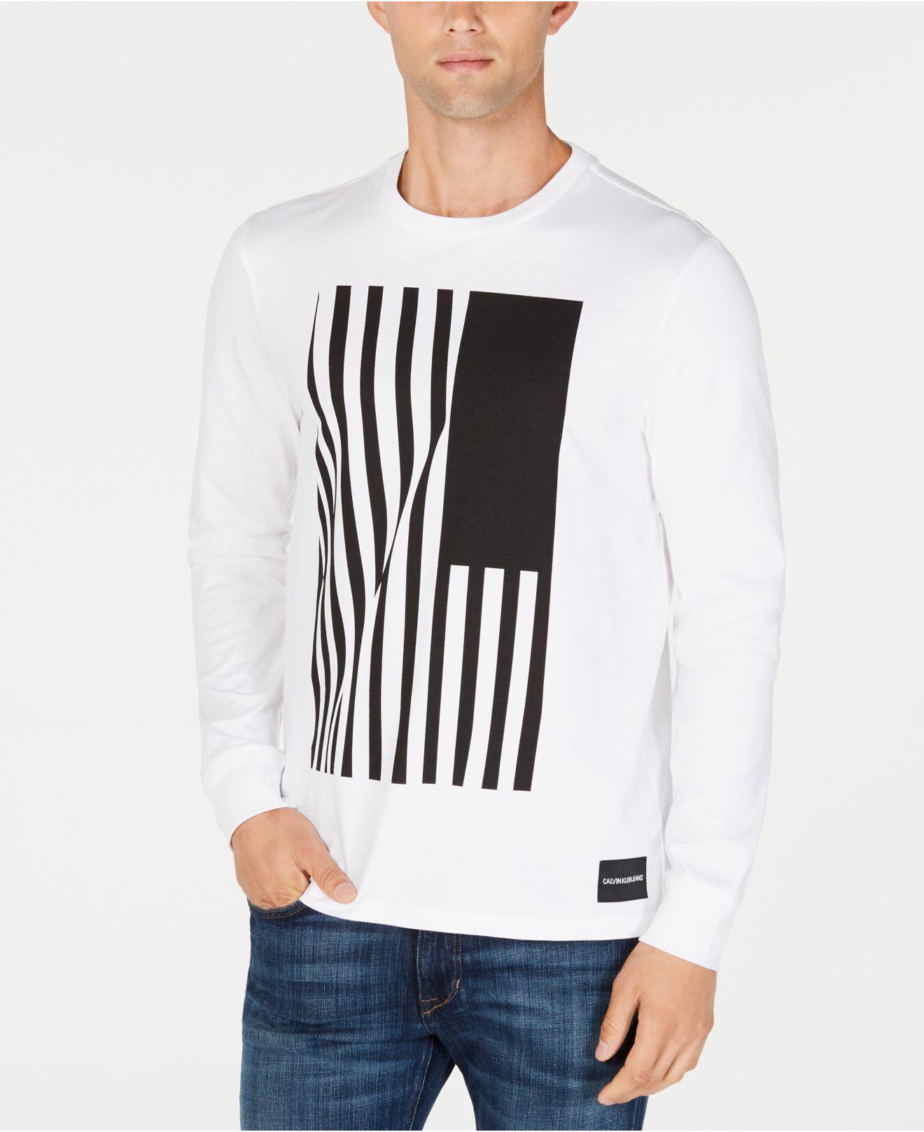 fce712d81fcb Lyst - Calvin Klein Long-sleeve Flag Graphic T-shirt in White for Men