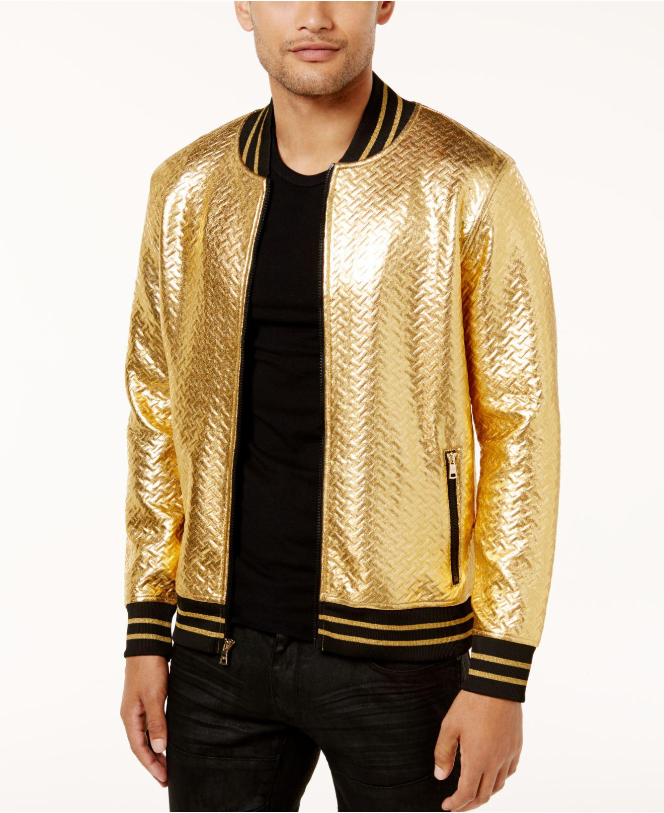 2184eb04b INC International Concepts Metallic Men's Gold Chevron Bomber Jacket for men