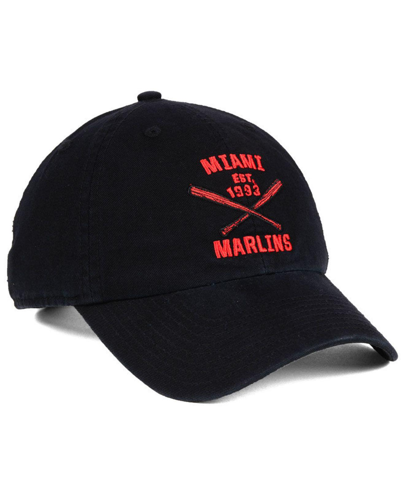 best new list size 7 47 Brand Cotton Miami Marlins Axis Clean Up Cap in Black for Men ...