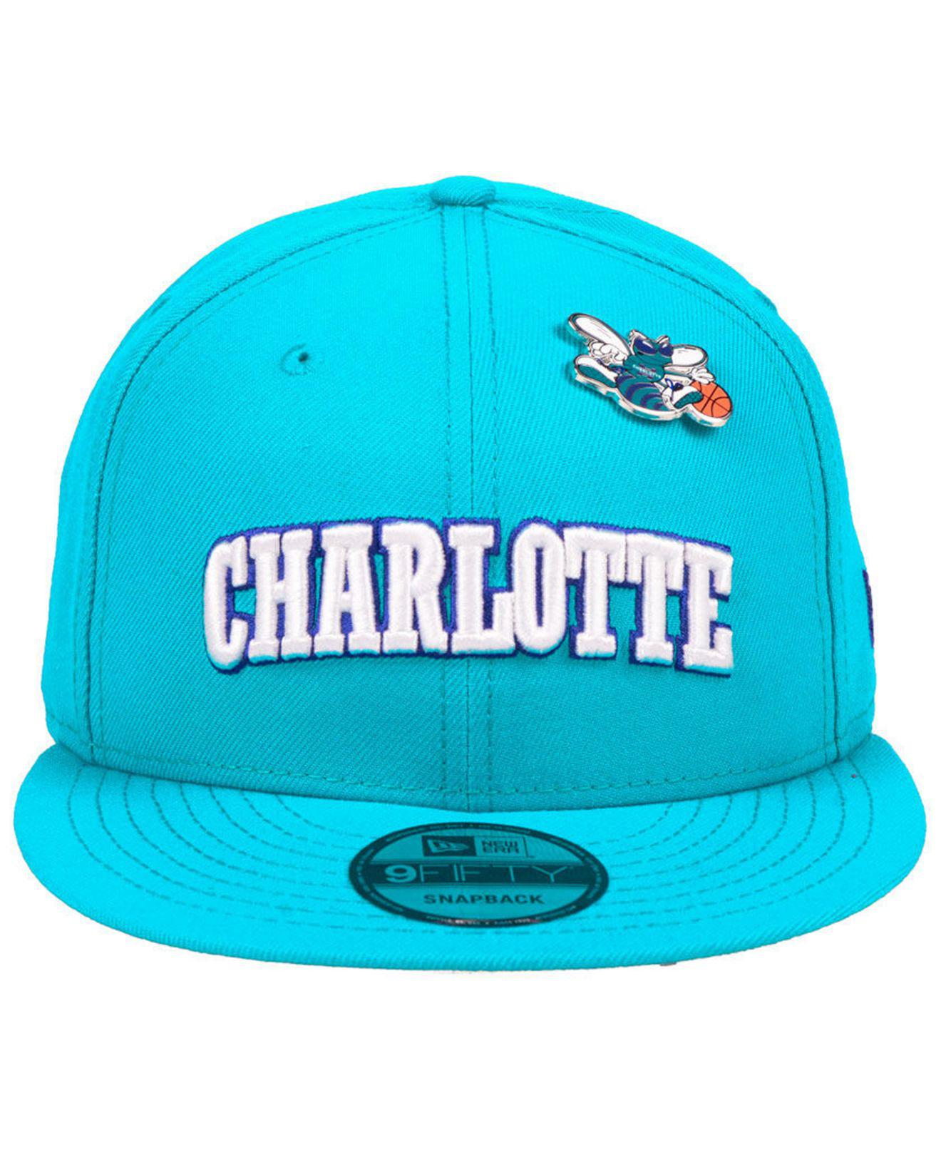online store 98863 8b9f2 ... real lyst ktz charlotte hornets hardwood classic nights pin 9fifty  snapback cap in blue for men
