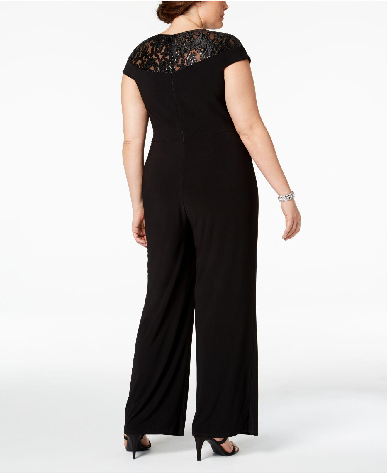 Lyst Adrianna Papell Plus Size Sequined Jersey Jumpsuit In Black