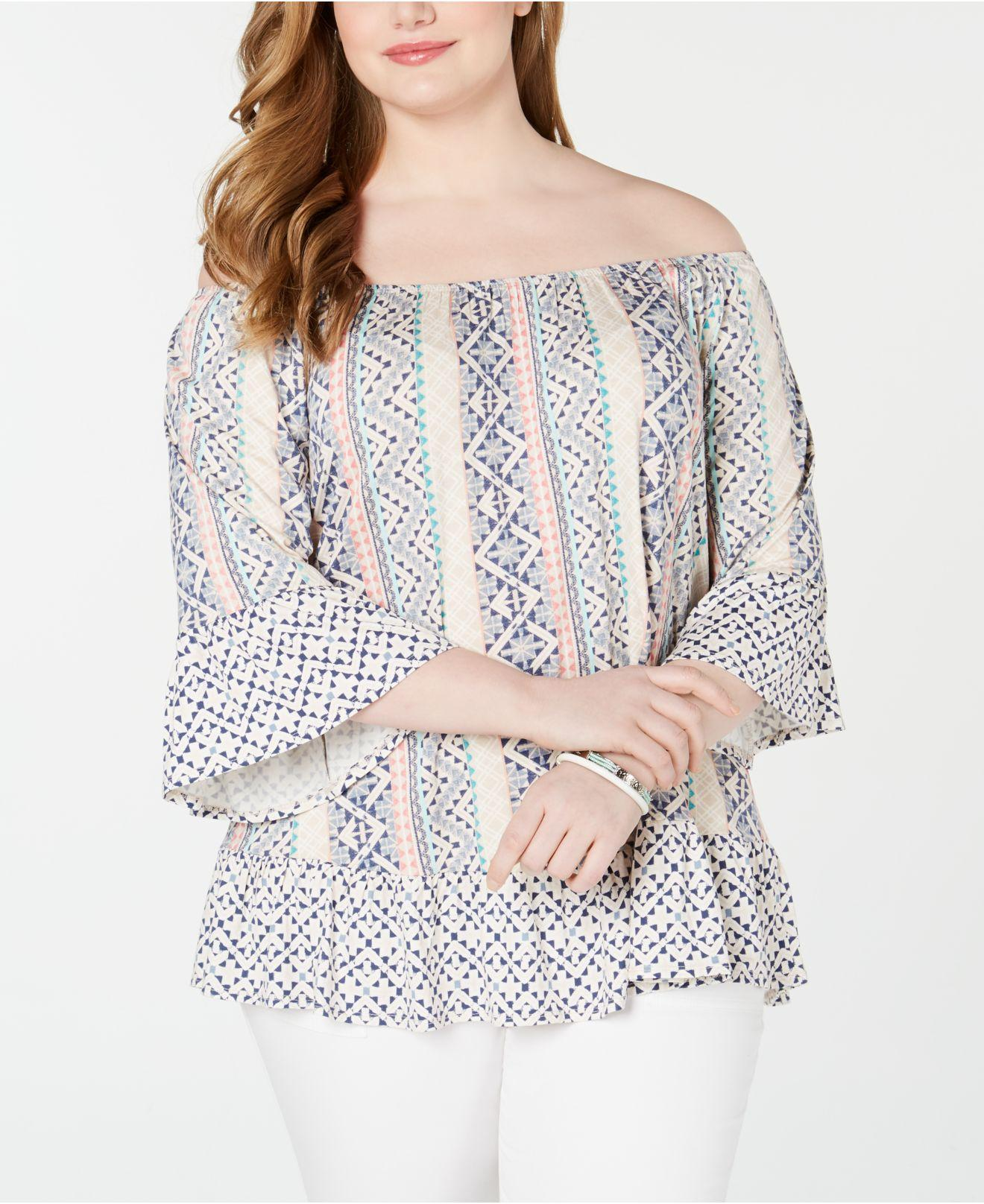 aefc0c1485c245 Style   Co. Women s Plus Size Printed Off-the-shoulder Top ...