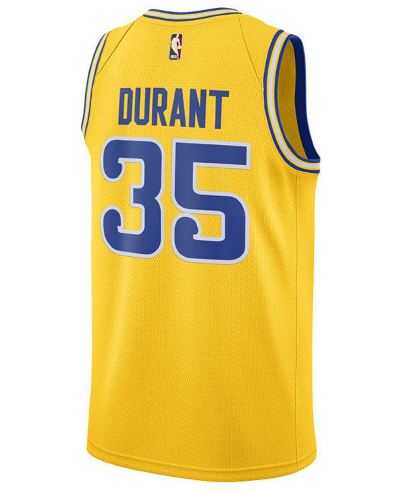 e53fce3cc Lyst - Nike Kevin Durant Golden State Warriors Hardwood Classic Swingman  Jersey in Yellow for Men