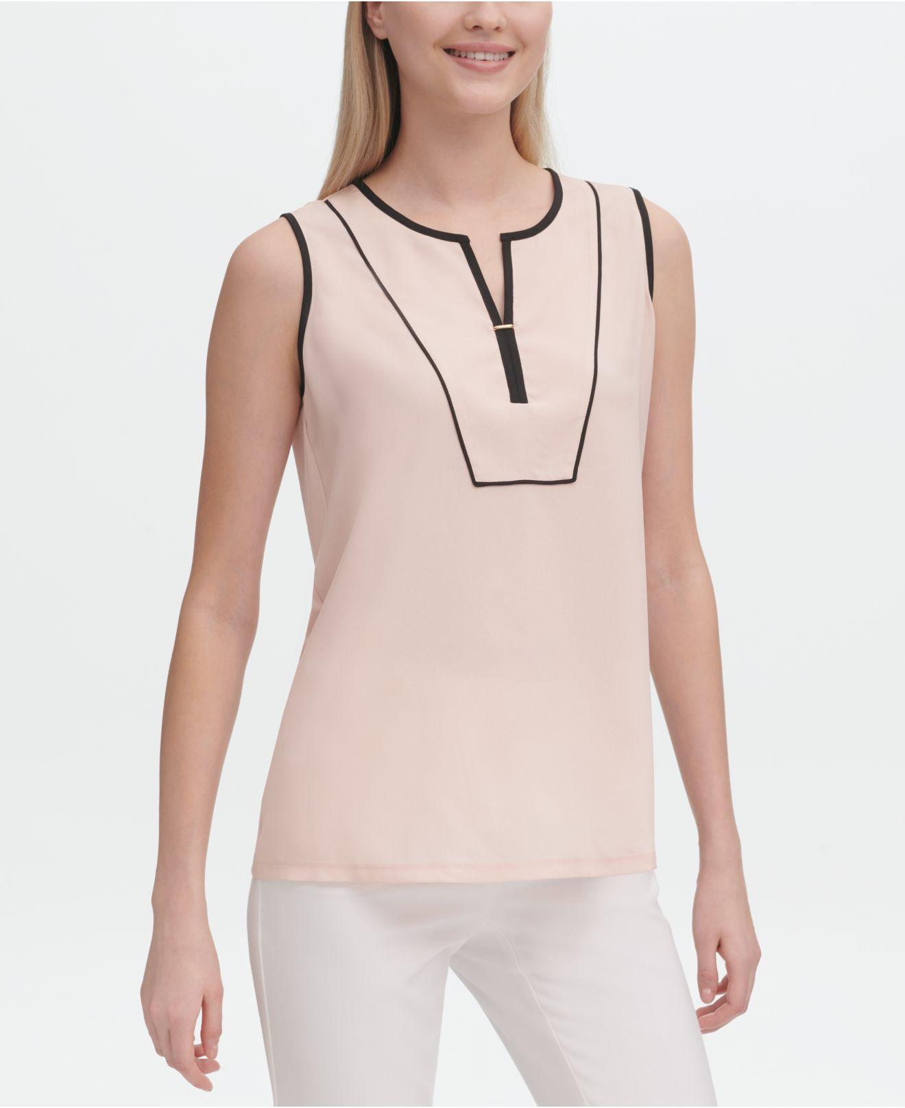 4eef61d8d8e8c Lyst - Calvin Klein Sleeveless Piping-trim Top in Pink