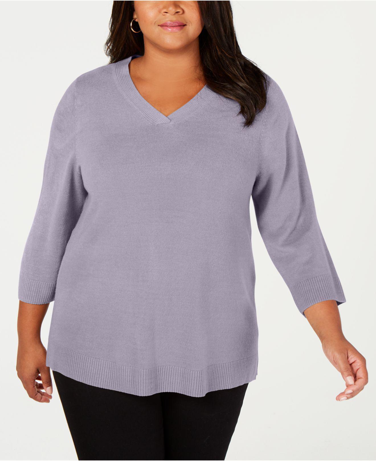 Karen Scott Women/'s Plus Luxsoft V-Neck Pullover 3//4 Sleeve Sweater Size 1X