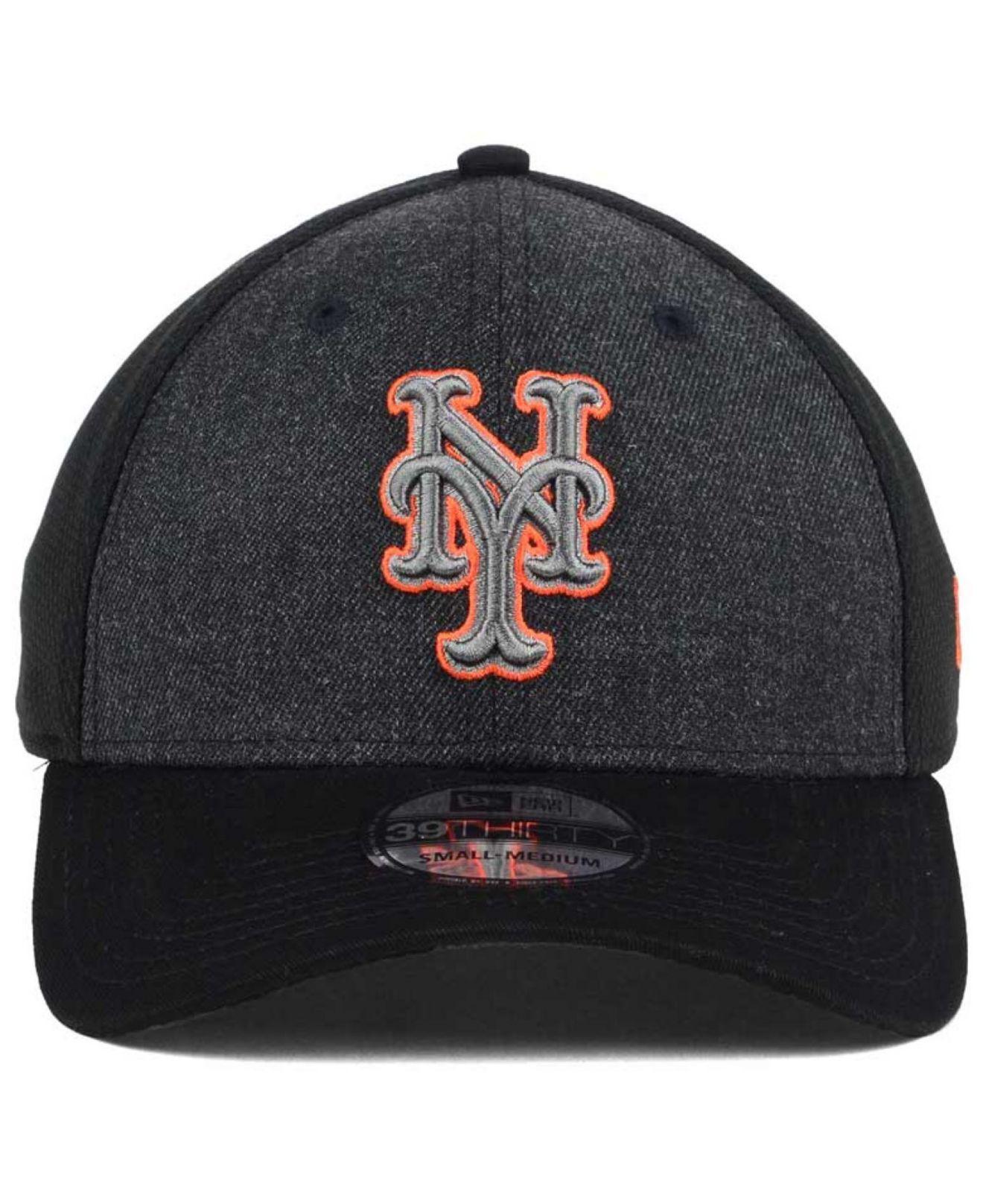 bce7dddc51b Lyst - Ktz New York Mets Black Heathered 39thirty Cap in Black for Men