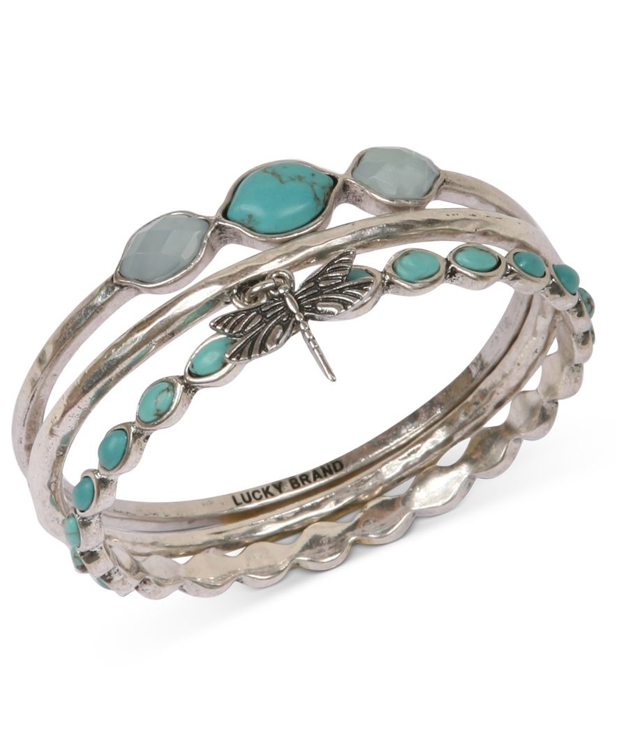 lucky brand bracelet set silver tone turquoise dragonfly