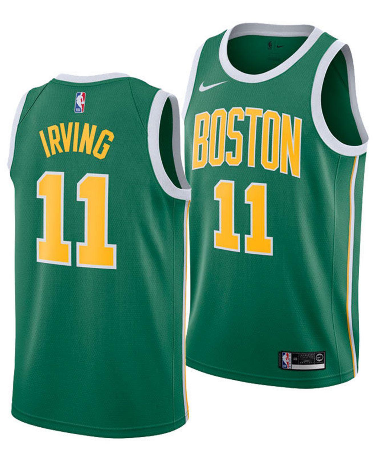 separation shoes 5a397 21b0d Men's Green Kyrie Irving Boston Celtics Earned Edition Swingman Jersey