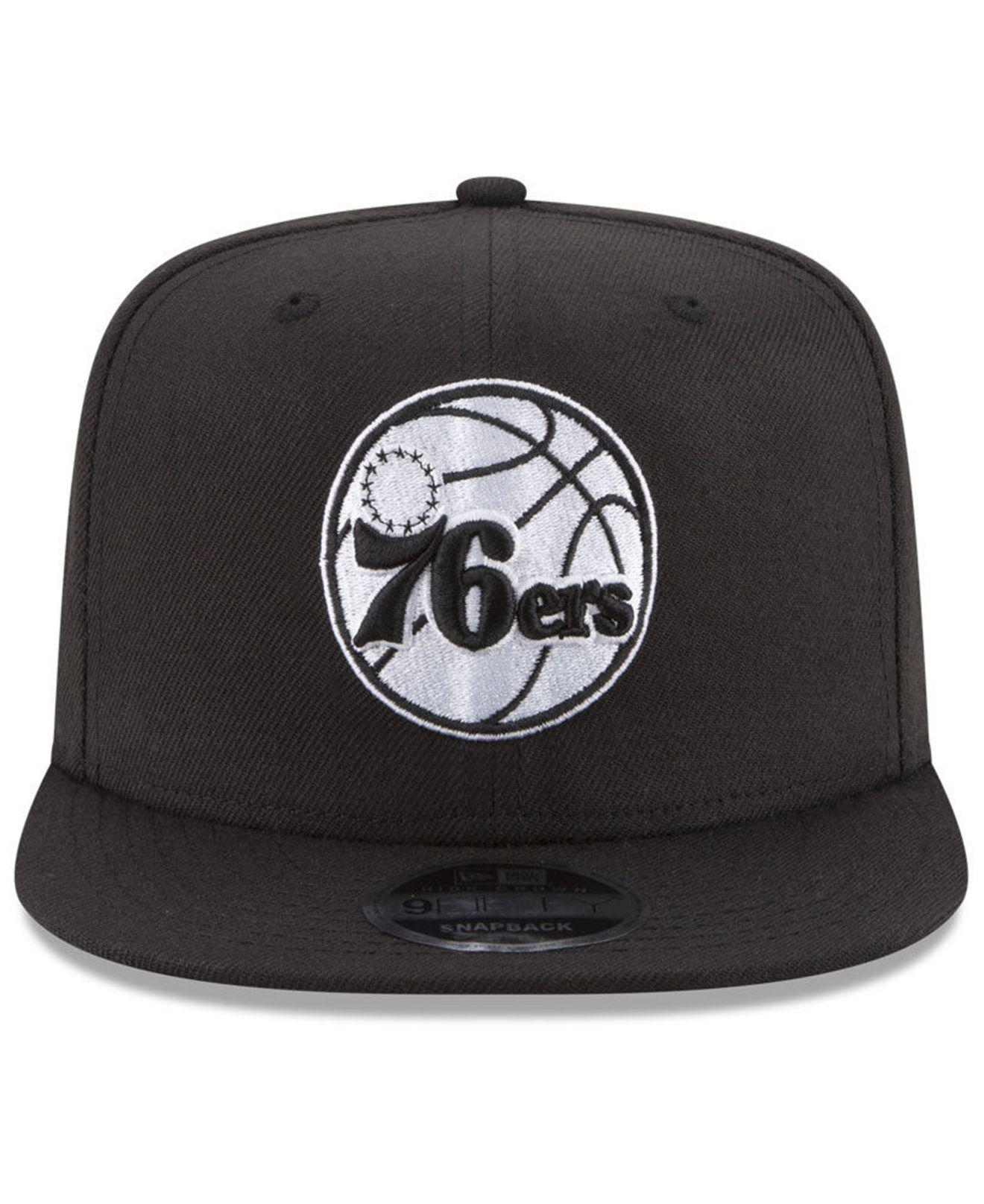 outlet store c70ea 99fcf Lyst - KTZ Philadelphia 76ers Anniversary Patch 9fifty Snapback Cap in Black  for Men