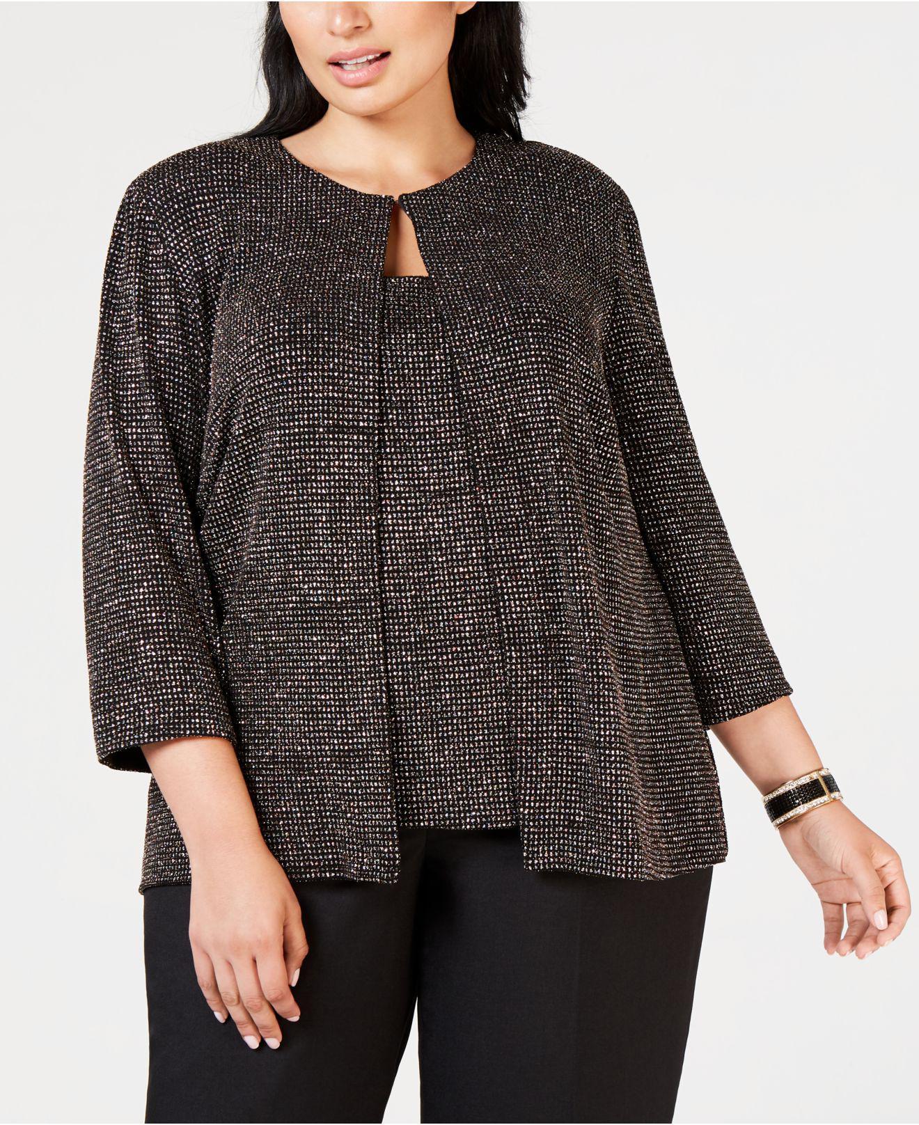 dd380121de174 Alex Evenings Plus Size Metallic Shine Jacket   Shell in Black - Lyst