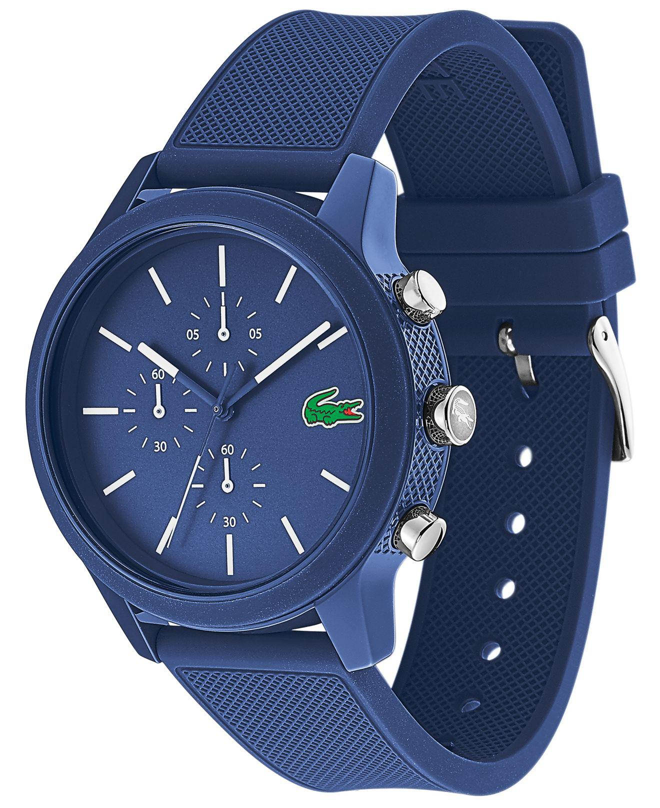 Lyst - Lacoste 12.12 Chronograph Watch With Blue Silicone Strap in Blue for Men - Save 18%
