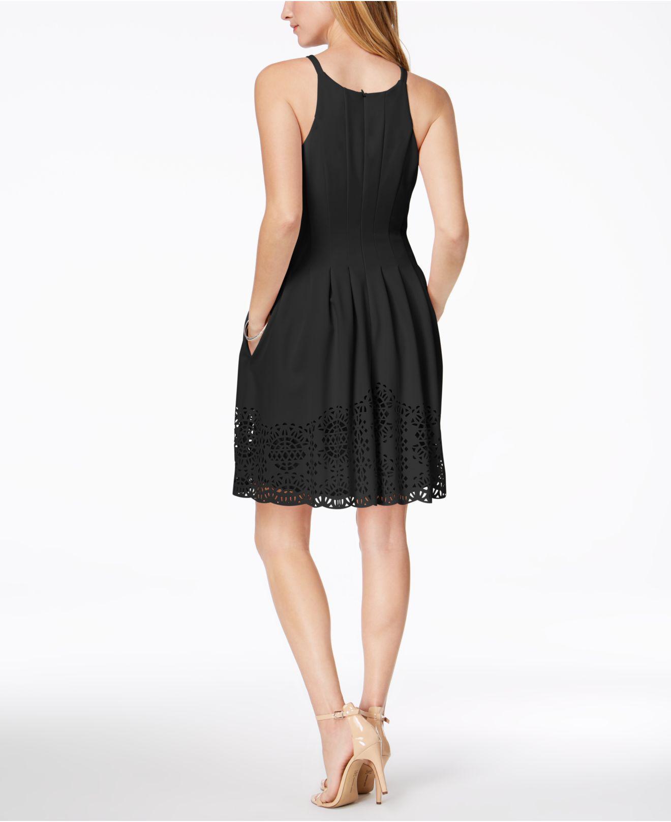 Lyst - Vince Camuto Petite Lasercut Fit   Flare Dress in Black 394b57e98