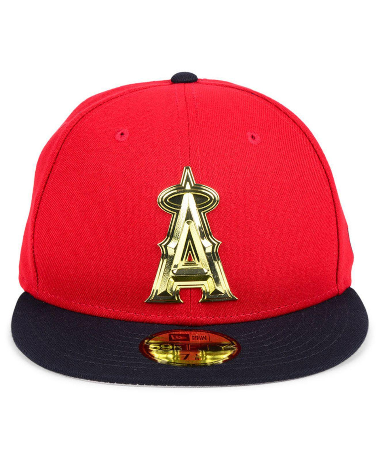 3f1160e85f47fe ... wholesale lyst ktz los angeles angels golden finish 59fifty fitted cap  in red for men save