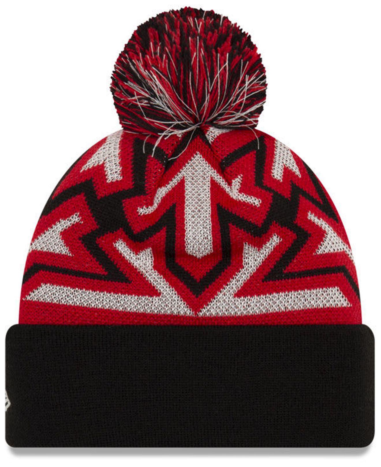 dc1307433cb Lyst - KTZ Chicago Bulls Glowflake Cuff Knit Hat in Red for Men