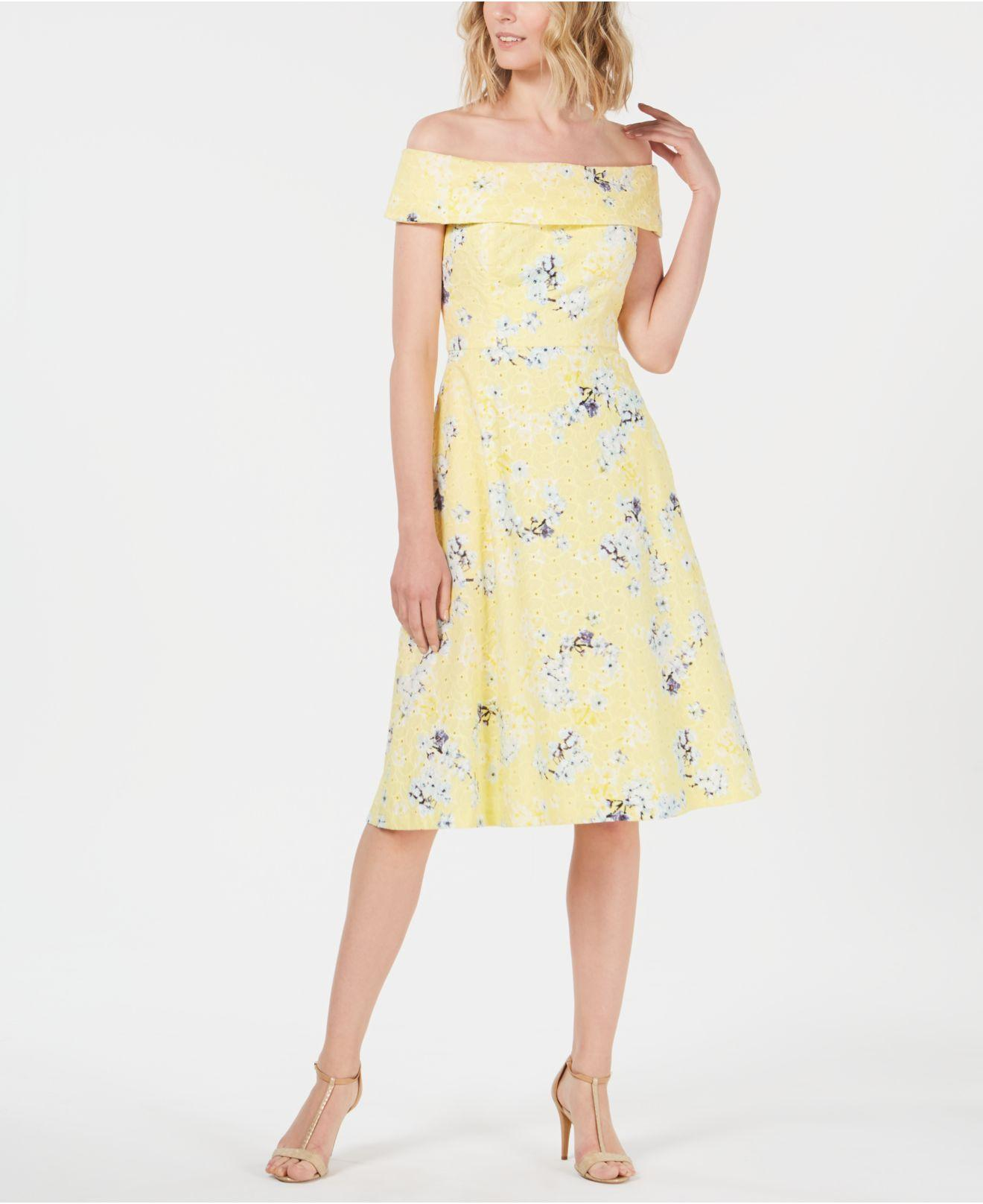 45074391da Lyst - Calvin Klein Off-the-shoulder Printed Eyelet Dress in Yellow ...